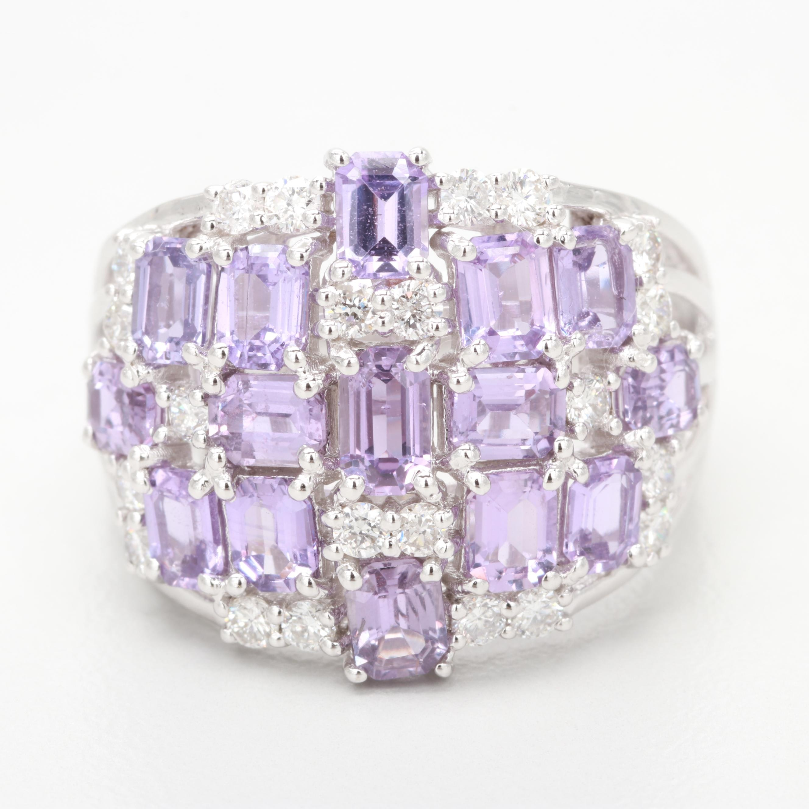 18K White Gold 3.16 CTW Purple Sapphire and Diamond Ring