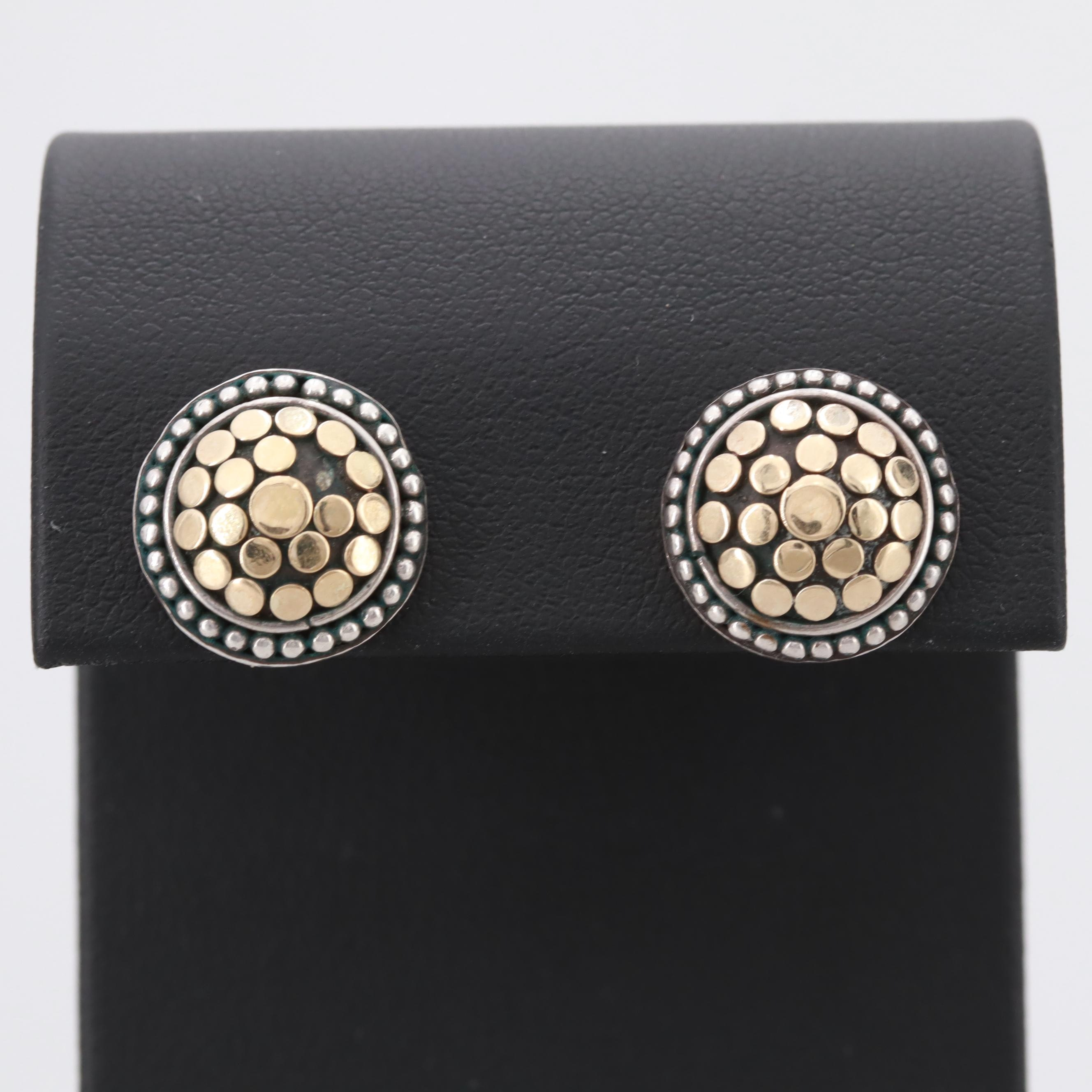 John Hardy Sterling Silver Earrings with 18K Yellow Gold Accents