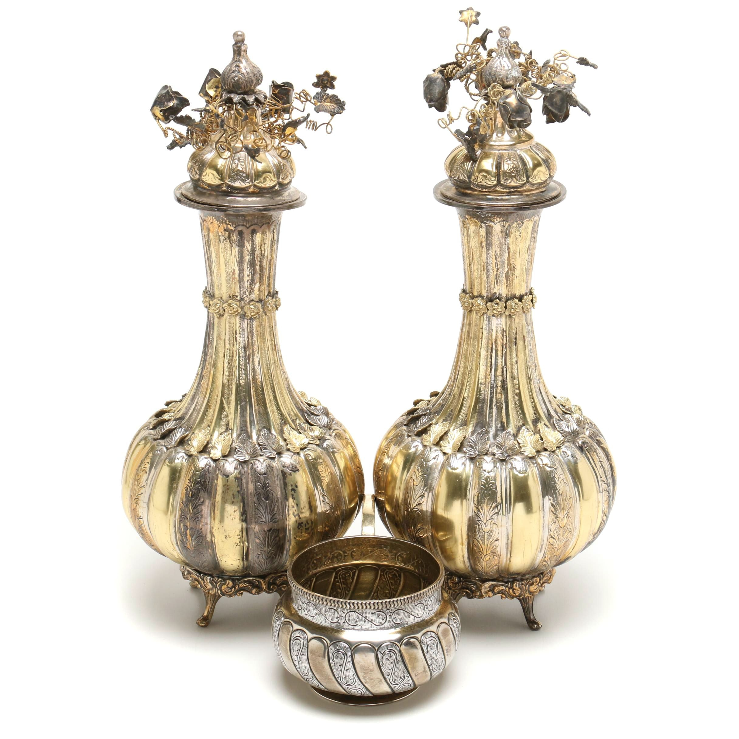 Pair of Antique 900 Silver Urns and Tane Sterling Silver Kovsh Bowl