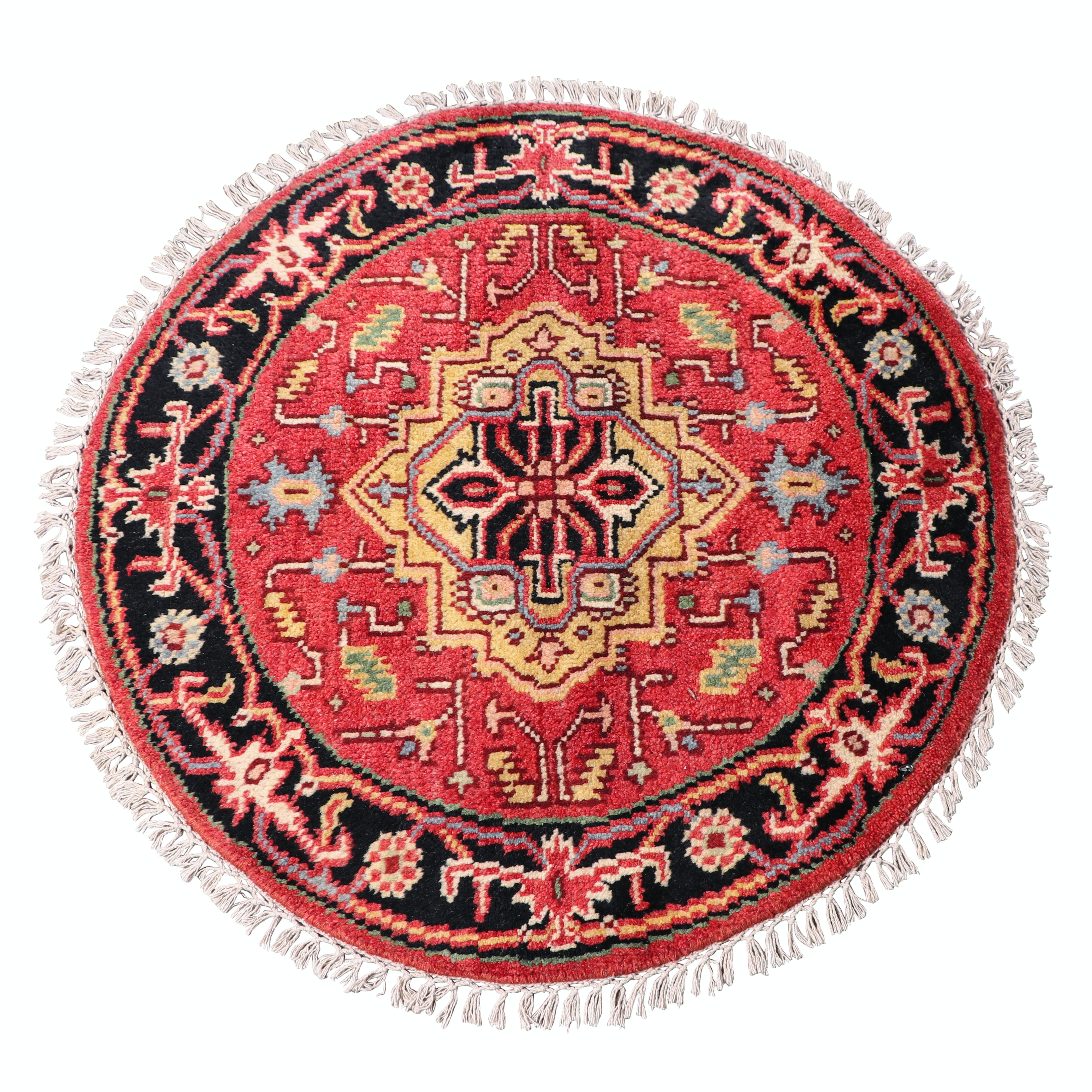 Hand-Knotted Indo-Heriz Wool Round Rug
