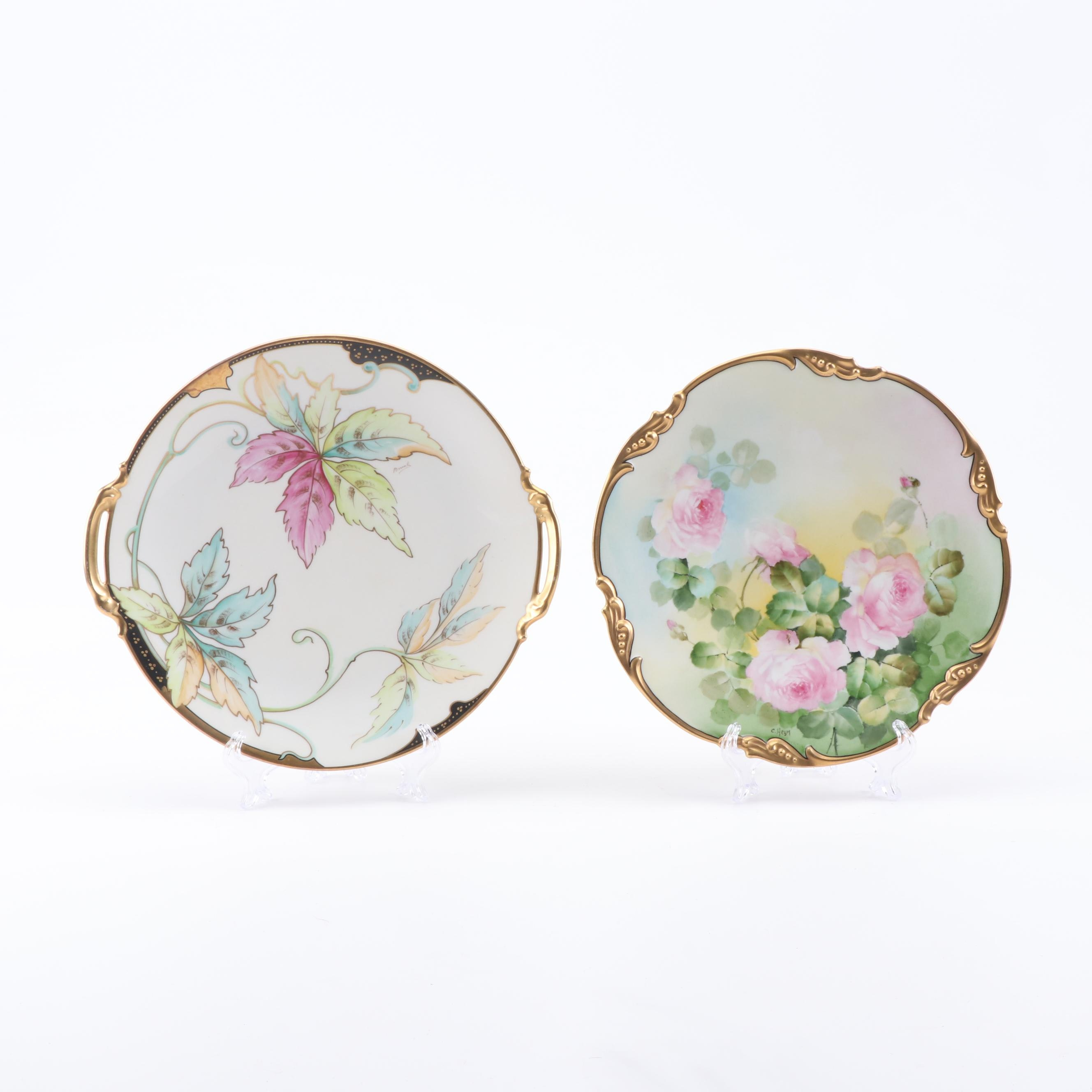 Jean Pouyat and Coiffe Limoges Porcelain Plates, Early 20th Century