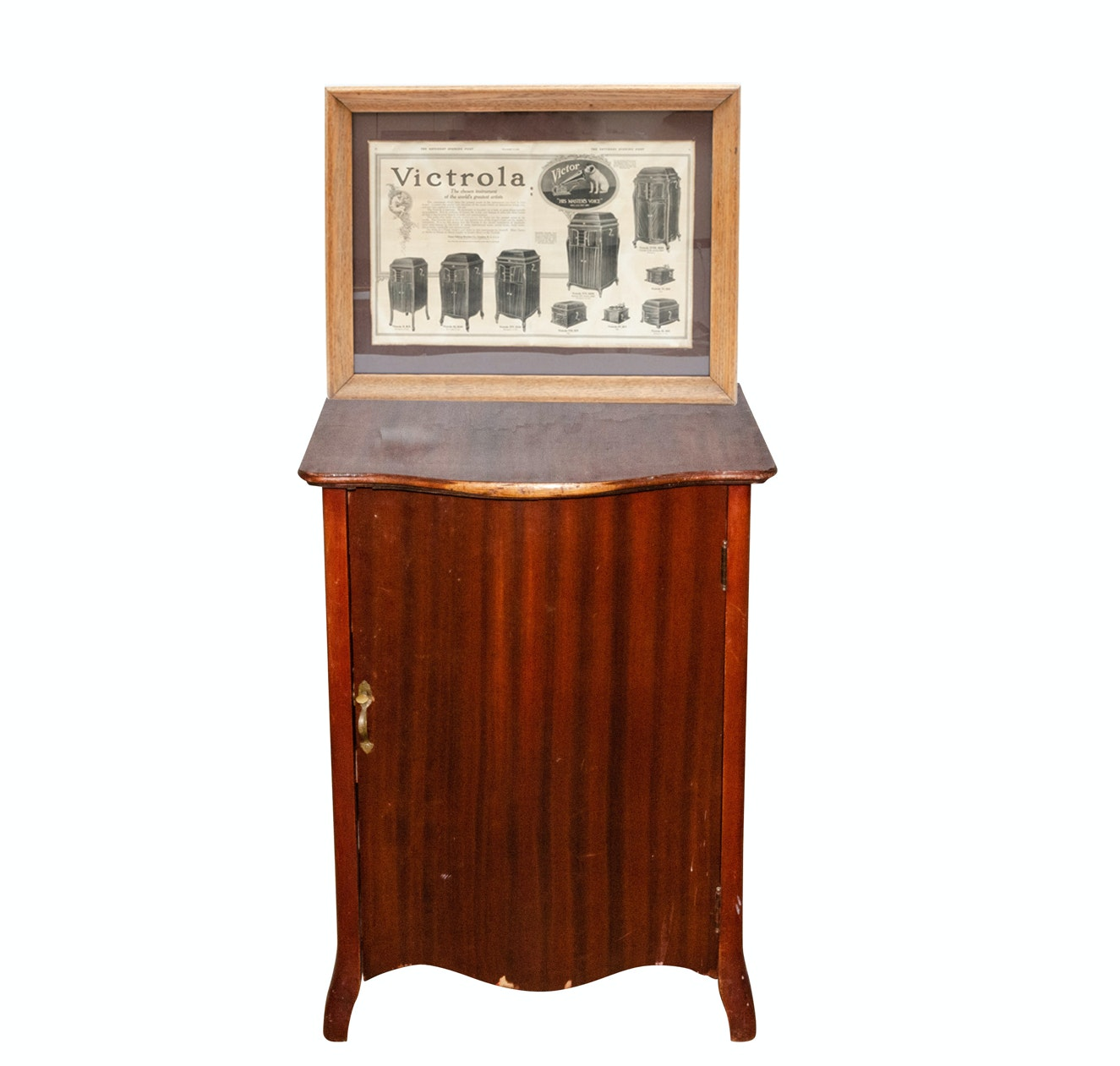 Early 20th Century Mahogany Record Cabinet and Victrola Advertisements
