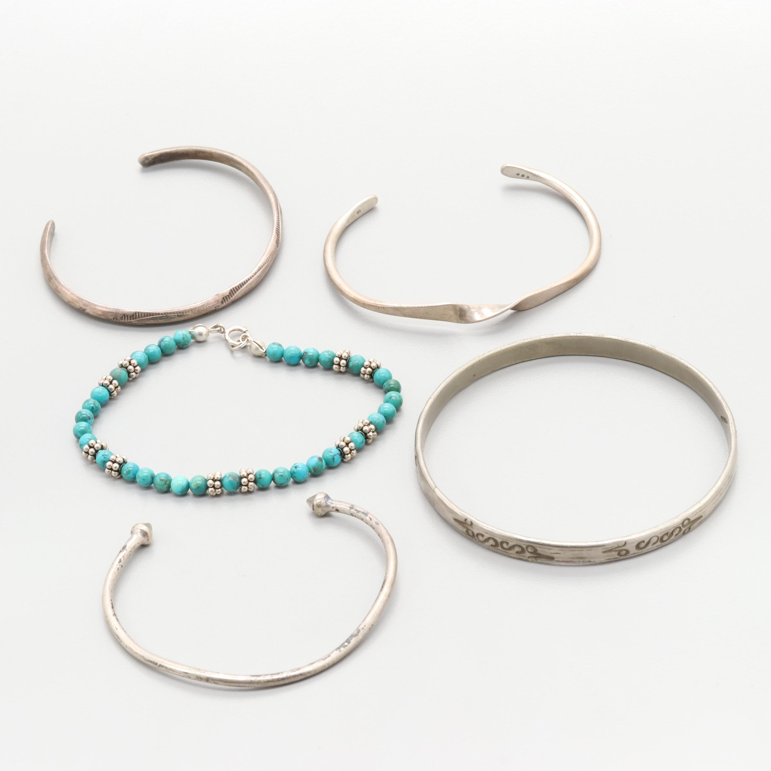 Sterling Silver and Silver Tone Imitation Turquoise Bracelets