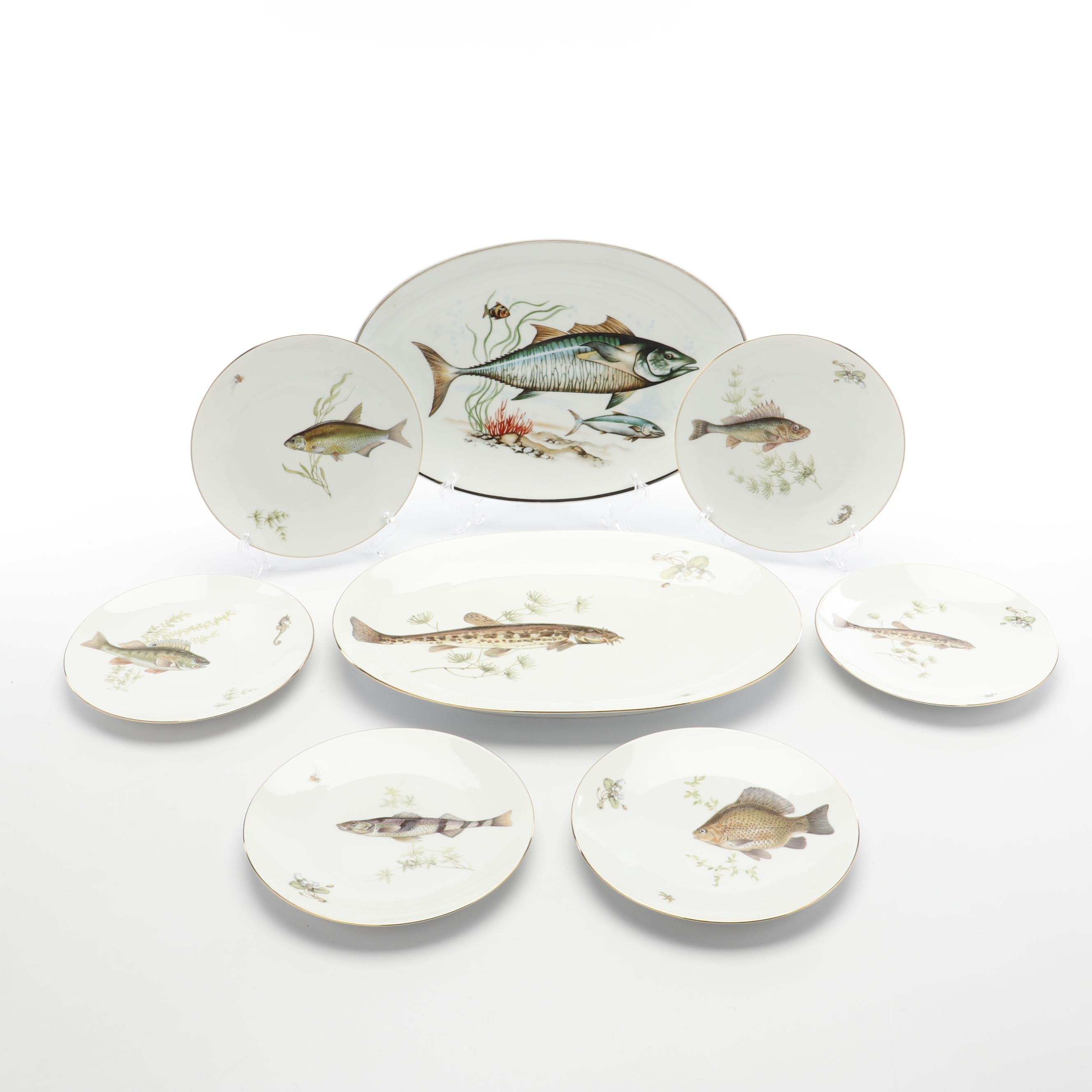 Fish Themed Porcelain Dinnerware featuring Bareuther & Co.