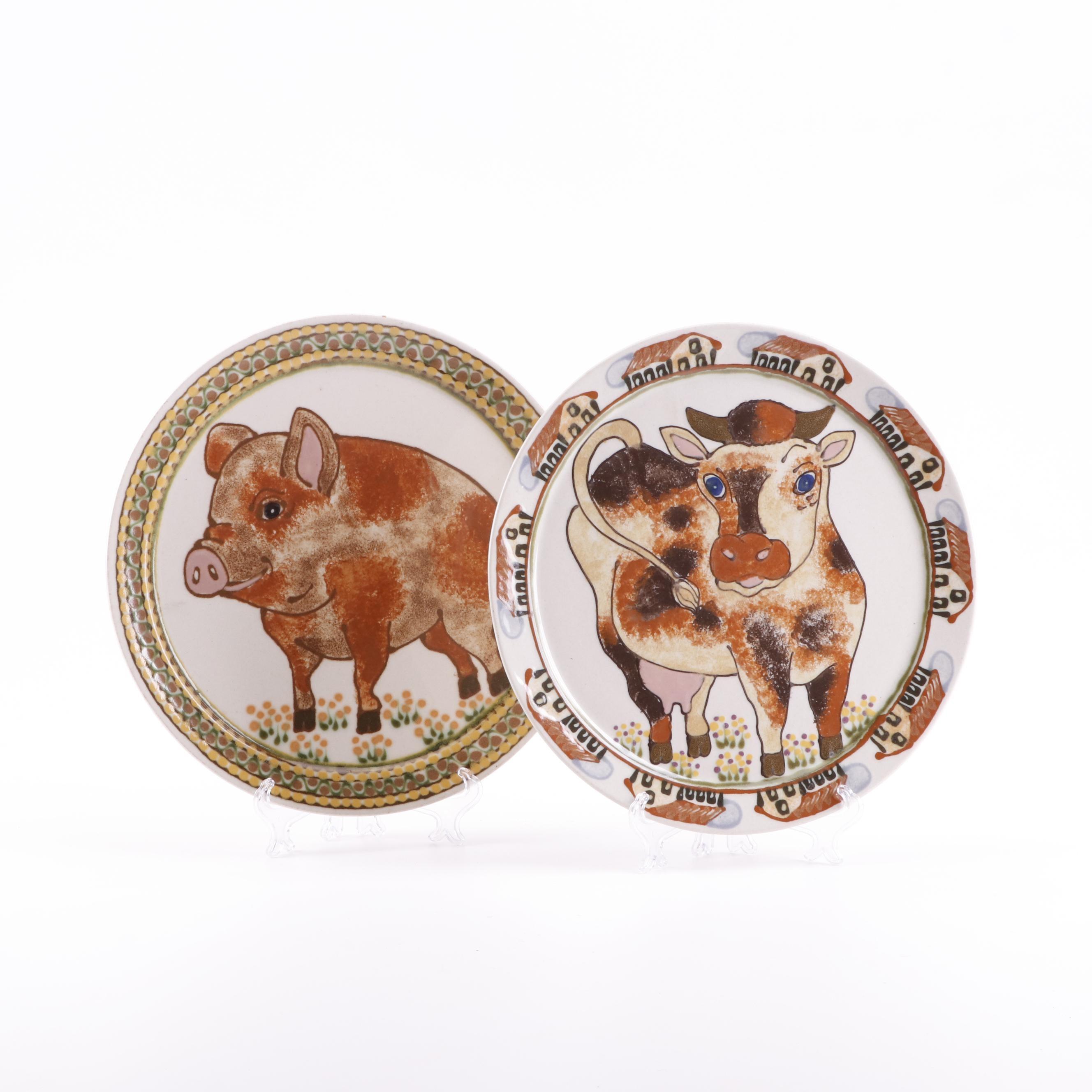 Janet Rothwoman Hand-Painted Barnyard Animal Stoneware Plates