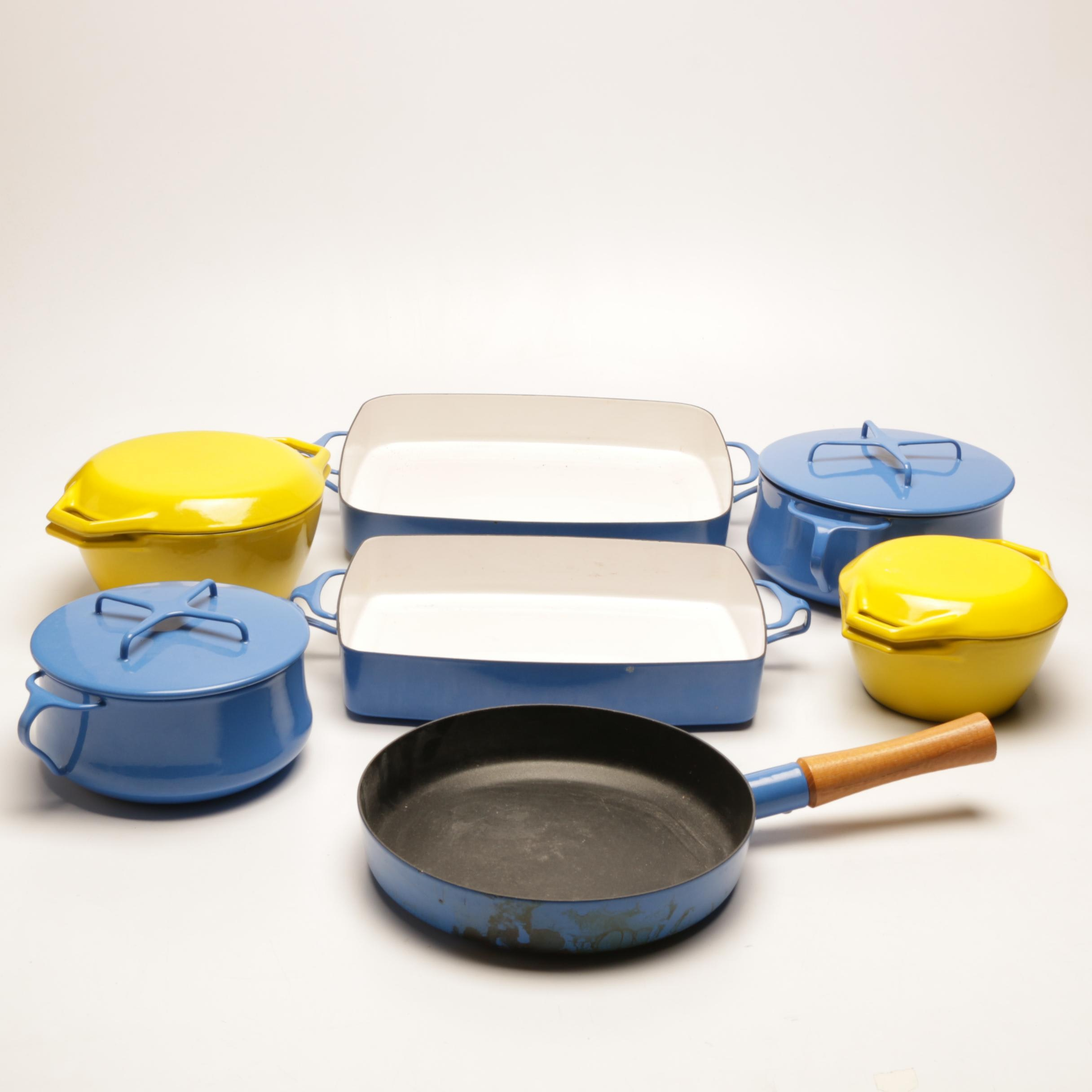 """Dansk """"Kobenstyle"""" and Copco Enamel Cookware in Yellow and Blue"""