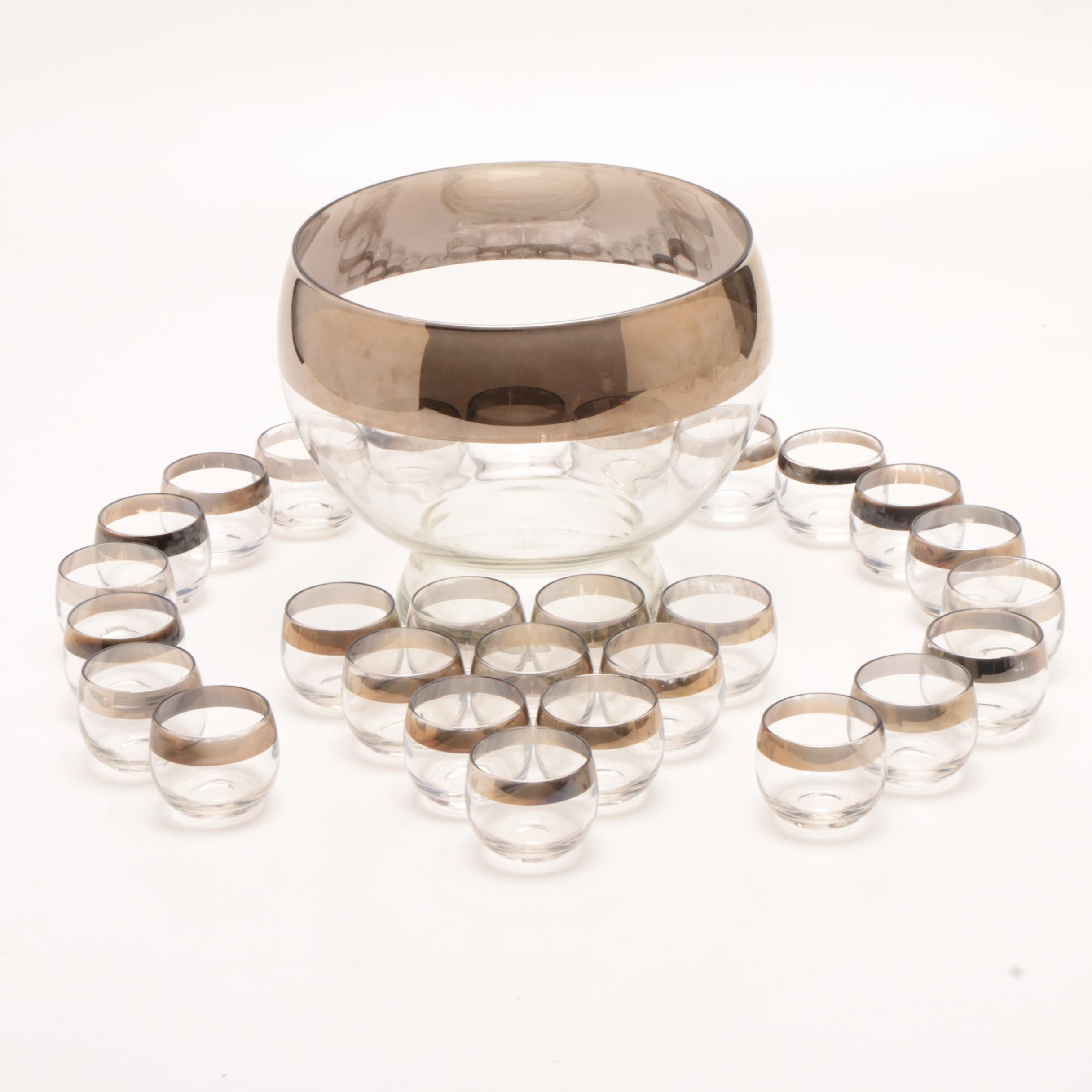 """Dorothy Thorpe """"Silver Band"""" Glass Punch Bowl and Punch Cups"""