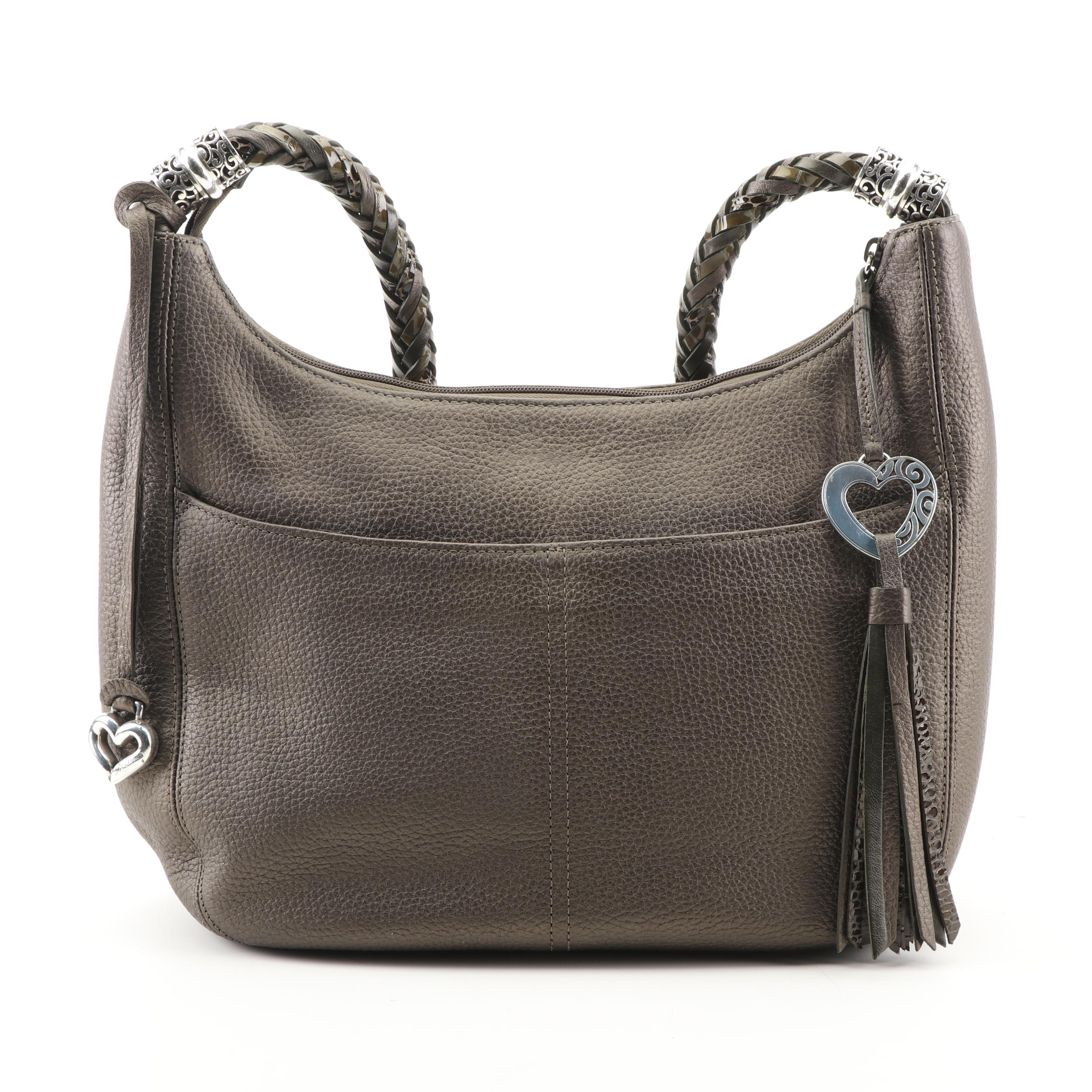 Brighton Deep Olive Green Leather Hobo Bag with Braided Strap