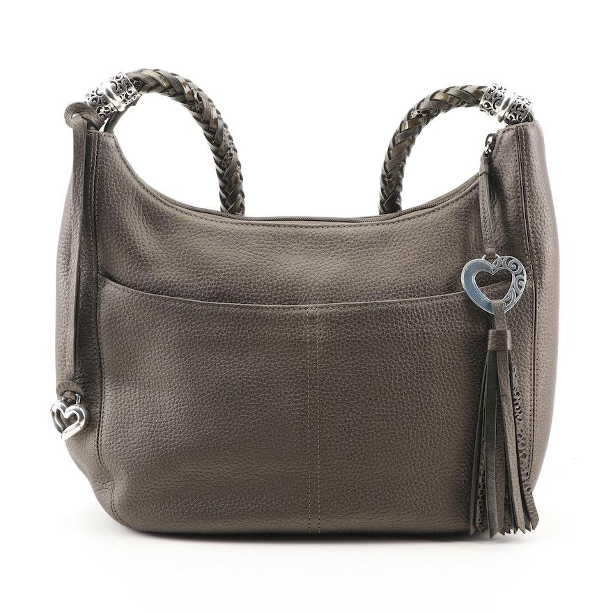654dc39a07da Brighton Deep Olive Green Leather Hobo Bag with Braided Strap   EBTH
