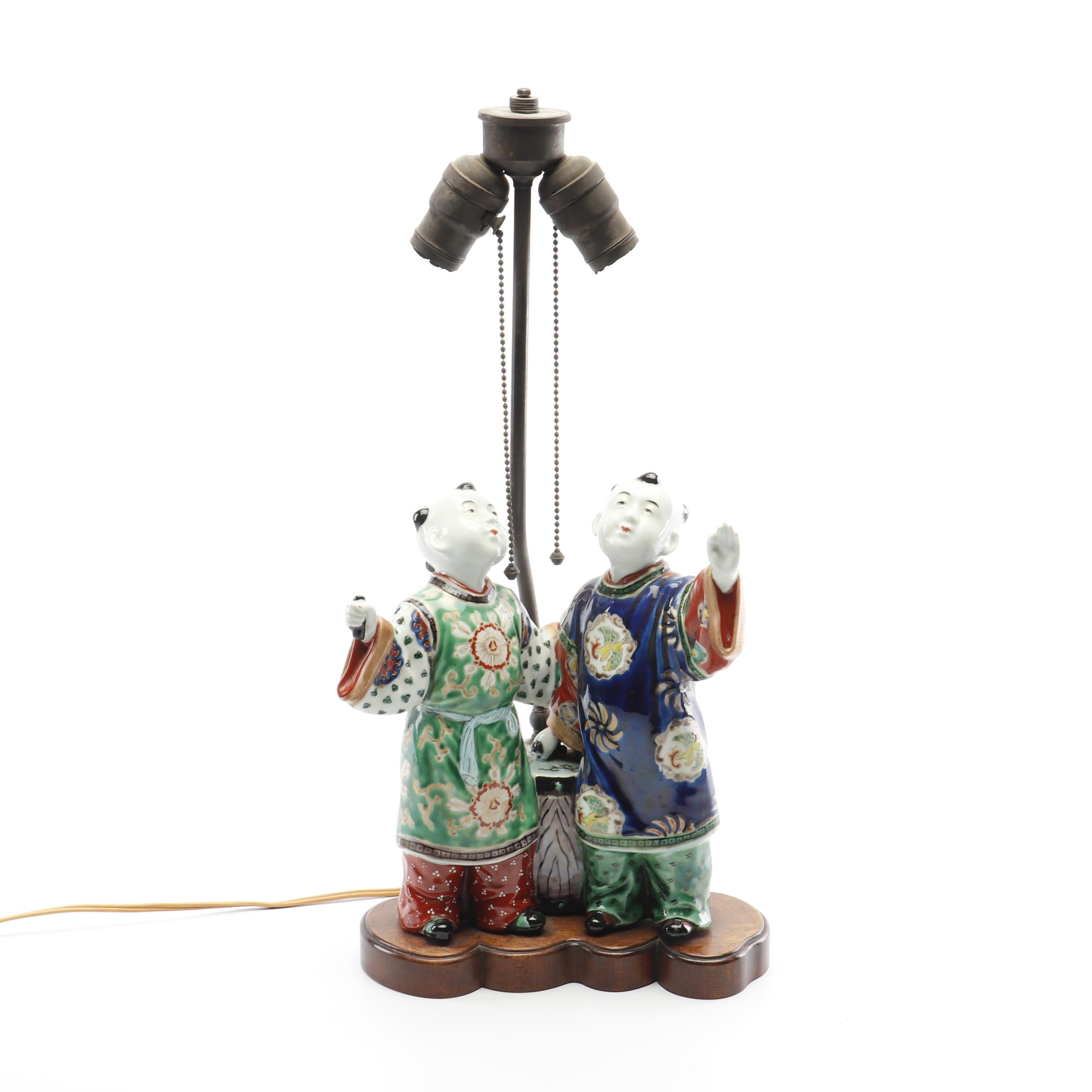Chinese Figural Ceramic Table Lamp