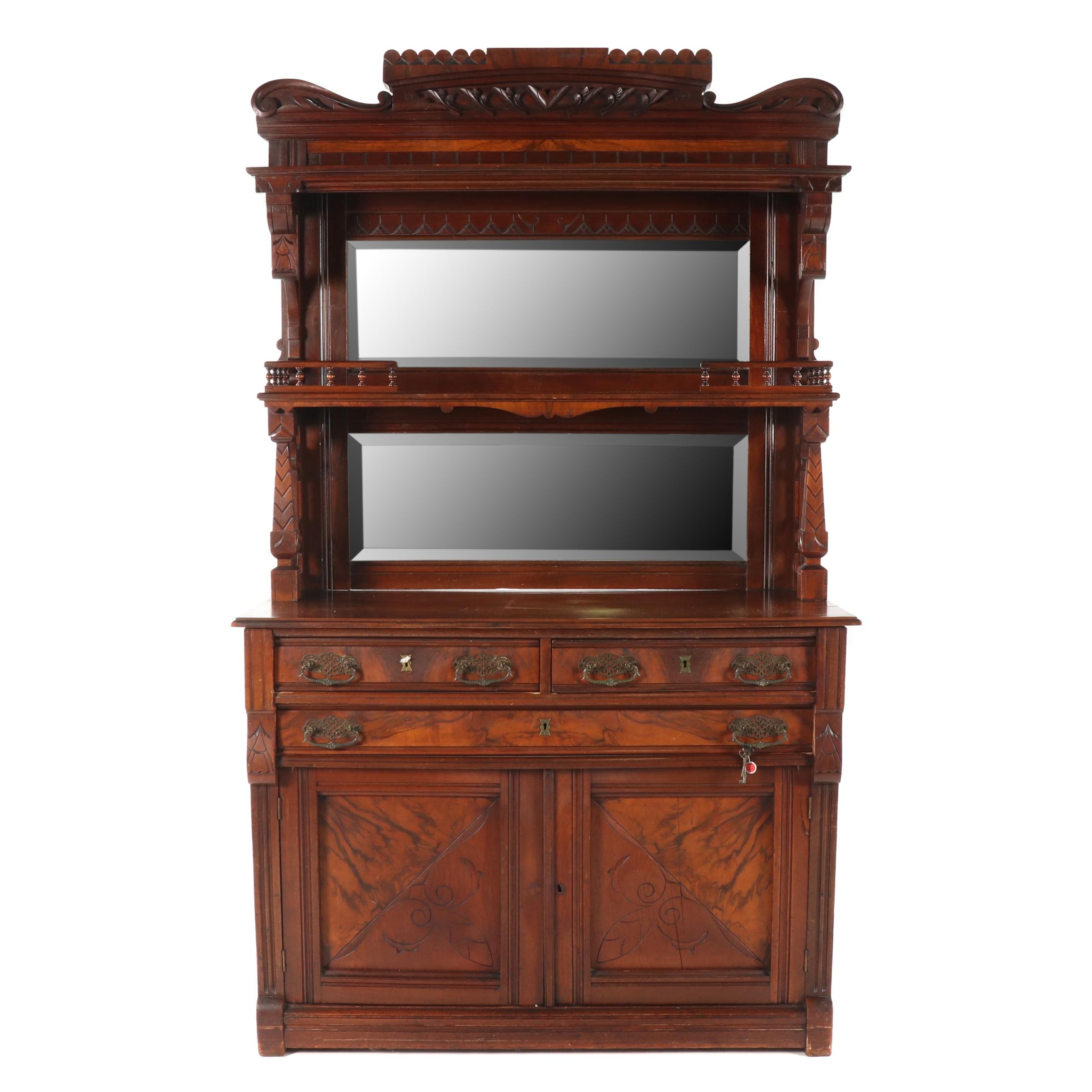 Eastlake Mahogany Sideboard with Mirrored Hutch, Late 19th Century