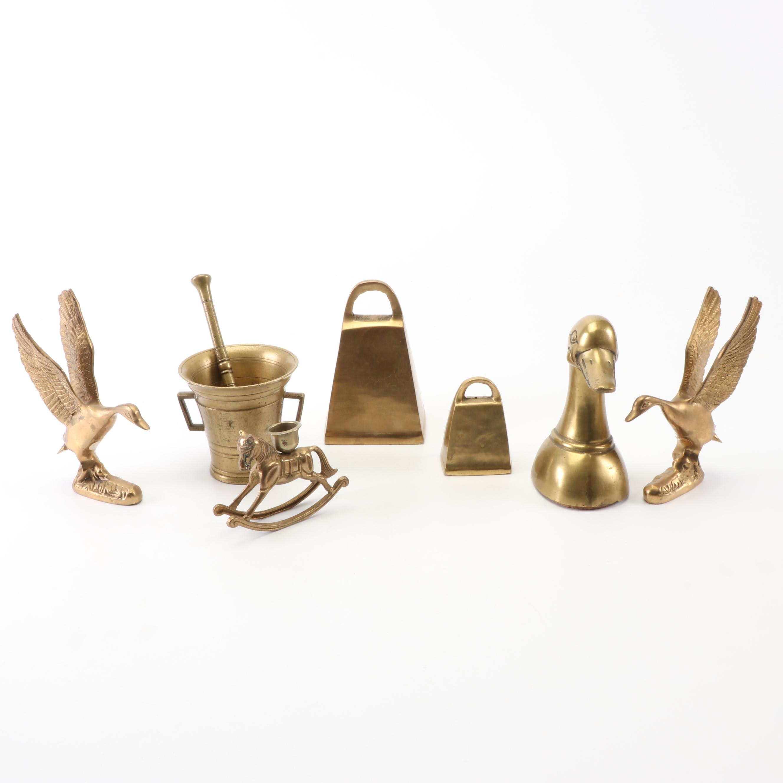 Brass Figurines and Bells featuring Hosley