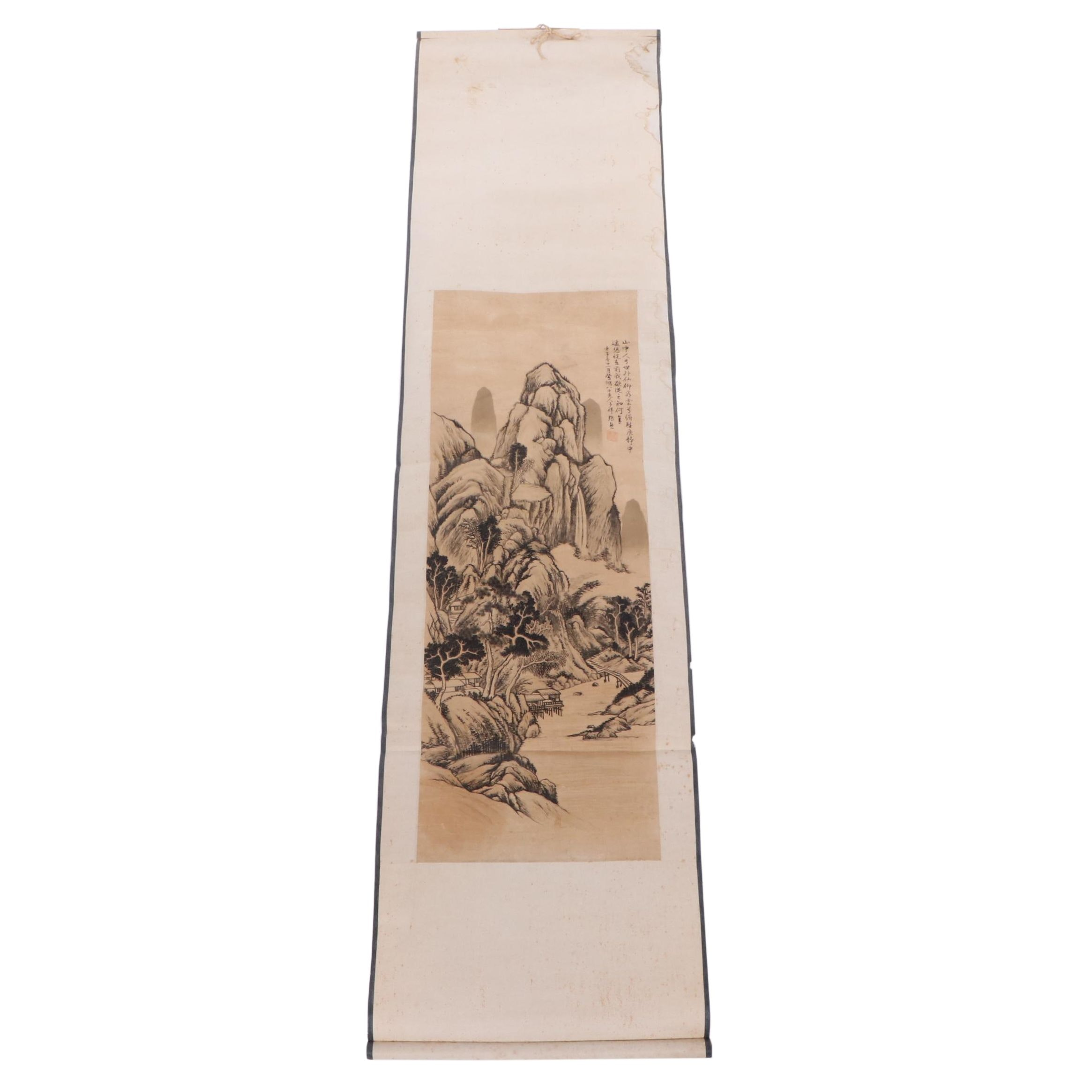 Chinese Mountain Scene Woodblock Print Scroll