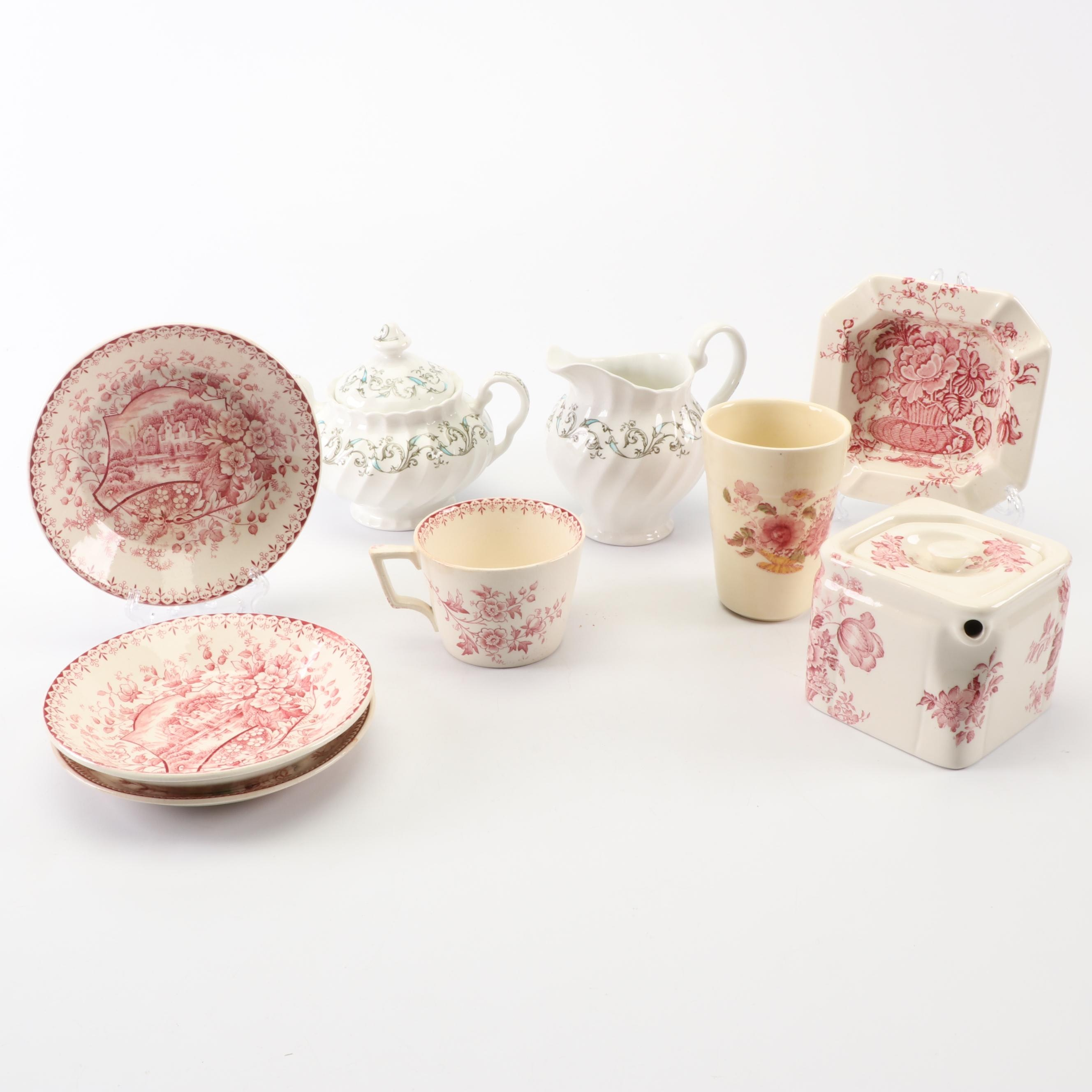 English Tableware and Ash Receiver including Whittaker & Co.