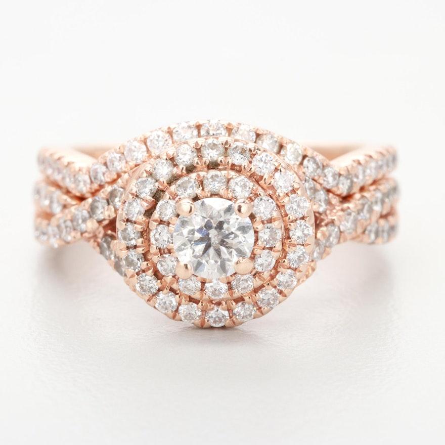 12d42bbd7 Neil Lane 14K Rose Gold Diamond Bridal Ring Set : EBTH