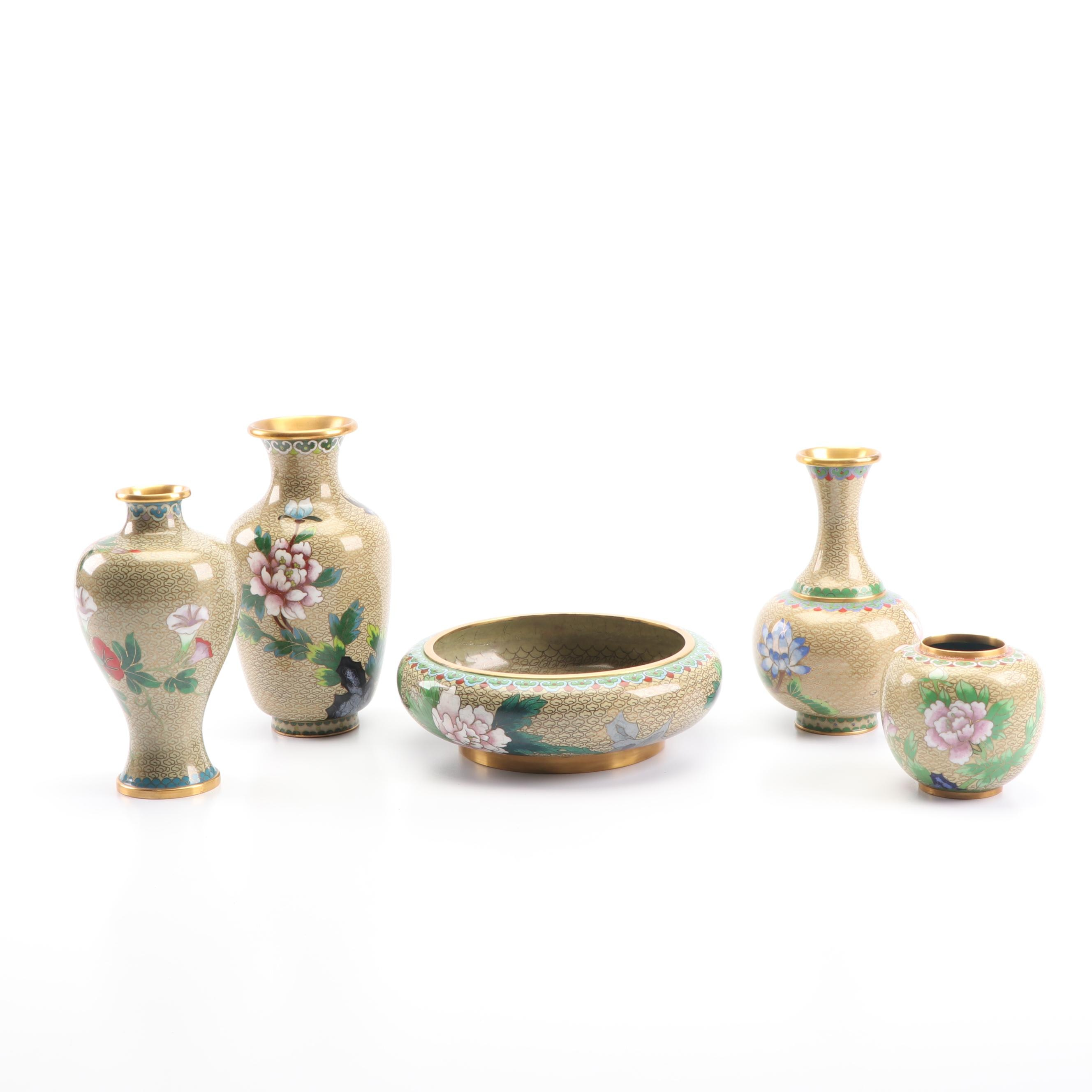 Chinese Cloisonné  Vases and Brush Washer
