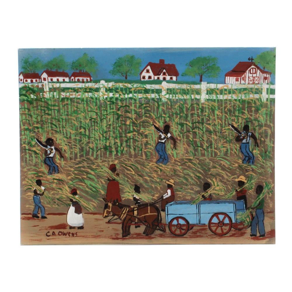 "Charles Owens Acrylic Painting ""Slaves Cutting Sugar Cane Louisiana and..."""