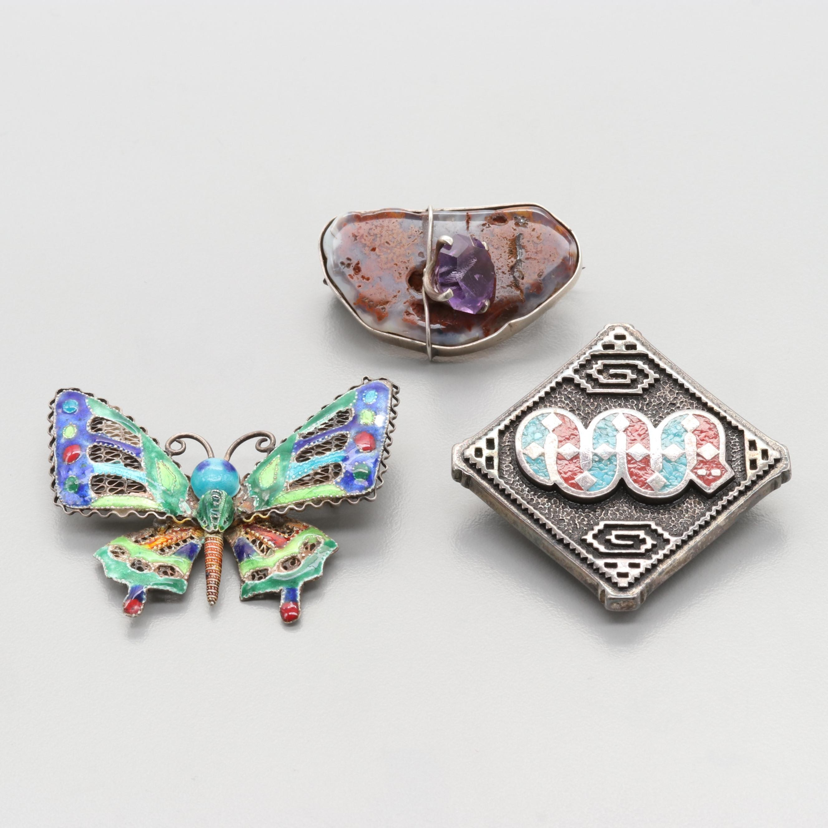 Sterling Amethyst, Agate, and Enamel Brooches Including Silver Tone Bolo Tie