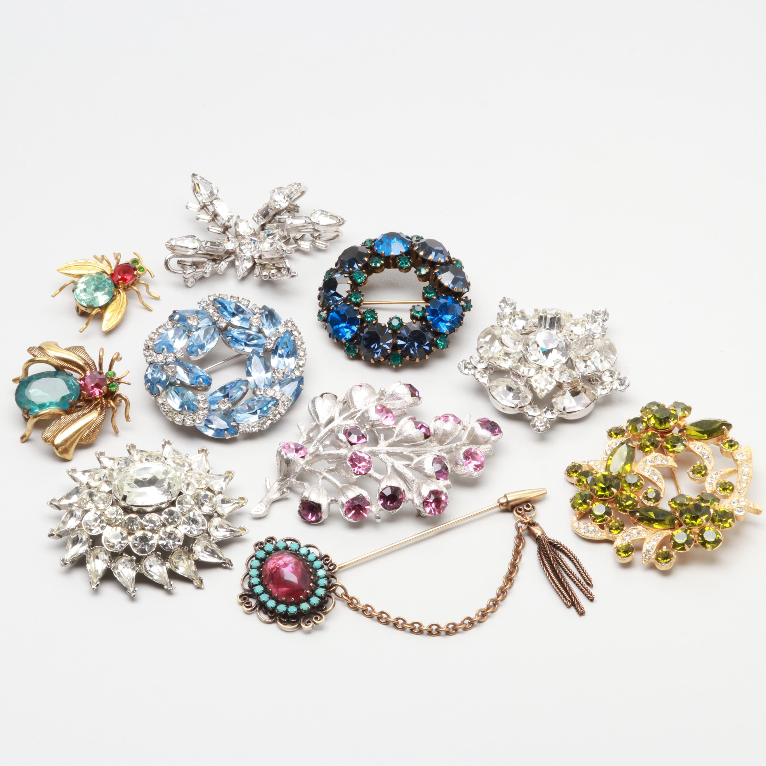 Silver and Gold Tone Glass Rhinestone Brooches with Eisenberg, Weiss, and Hobé