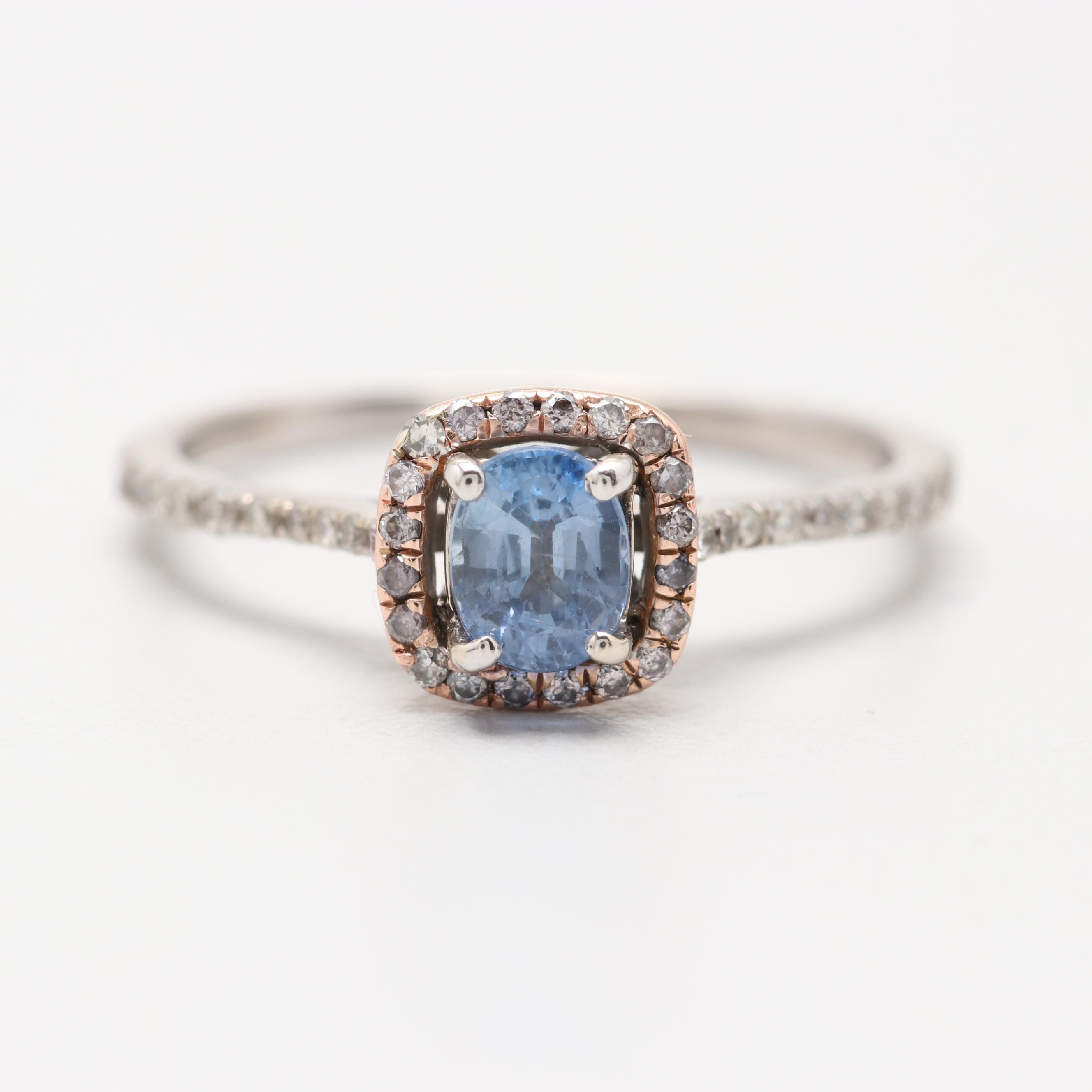14K White Gold Sapphire and Diamnd Halo Ring with Rose Gold Accent