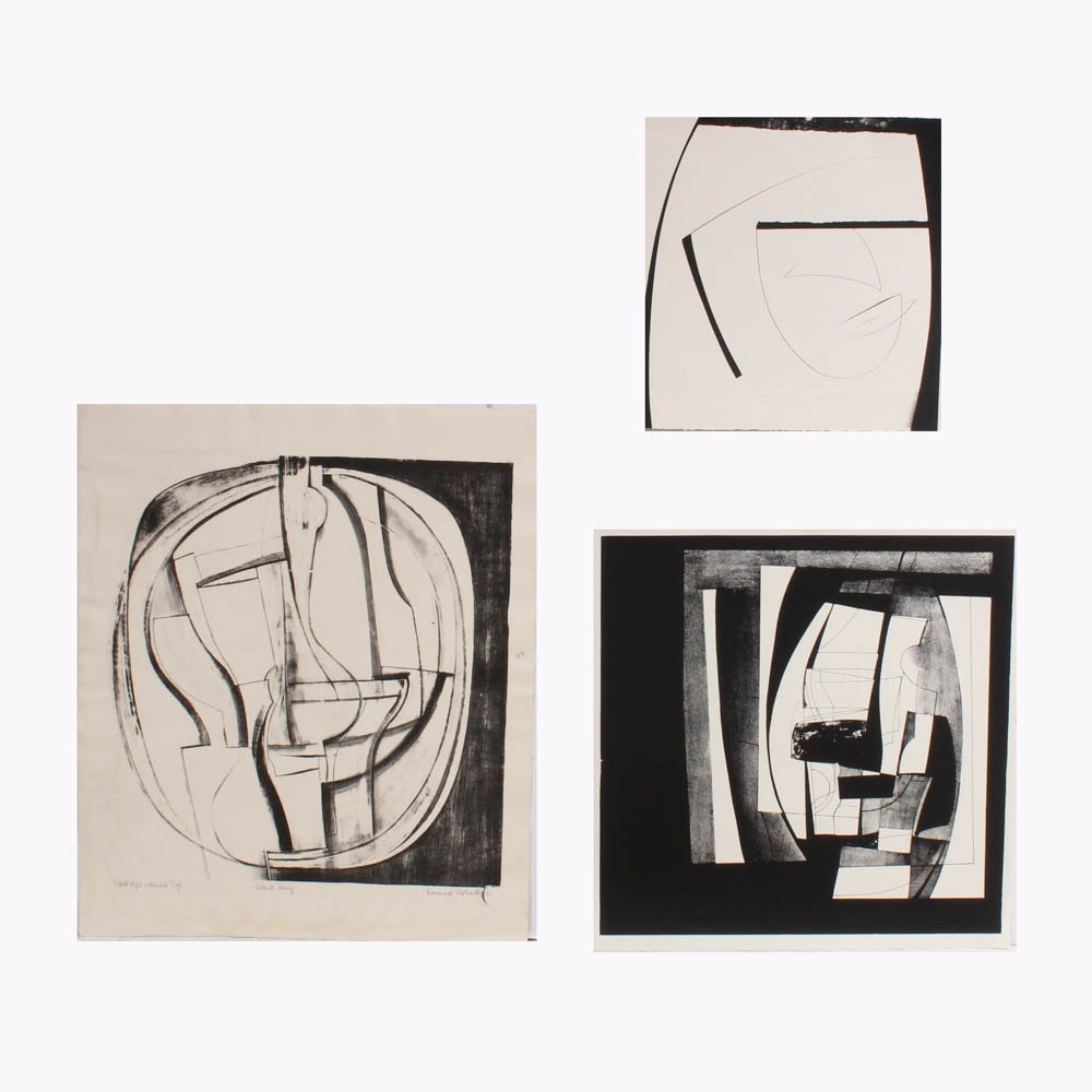Donald Roberts Limited Edition 1960s Abstract Lithographs