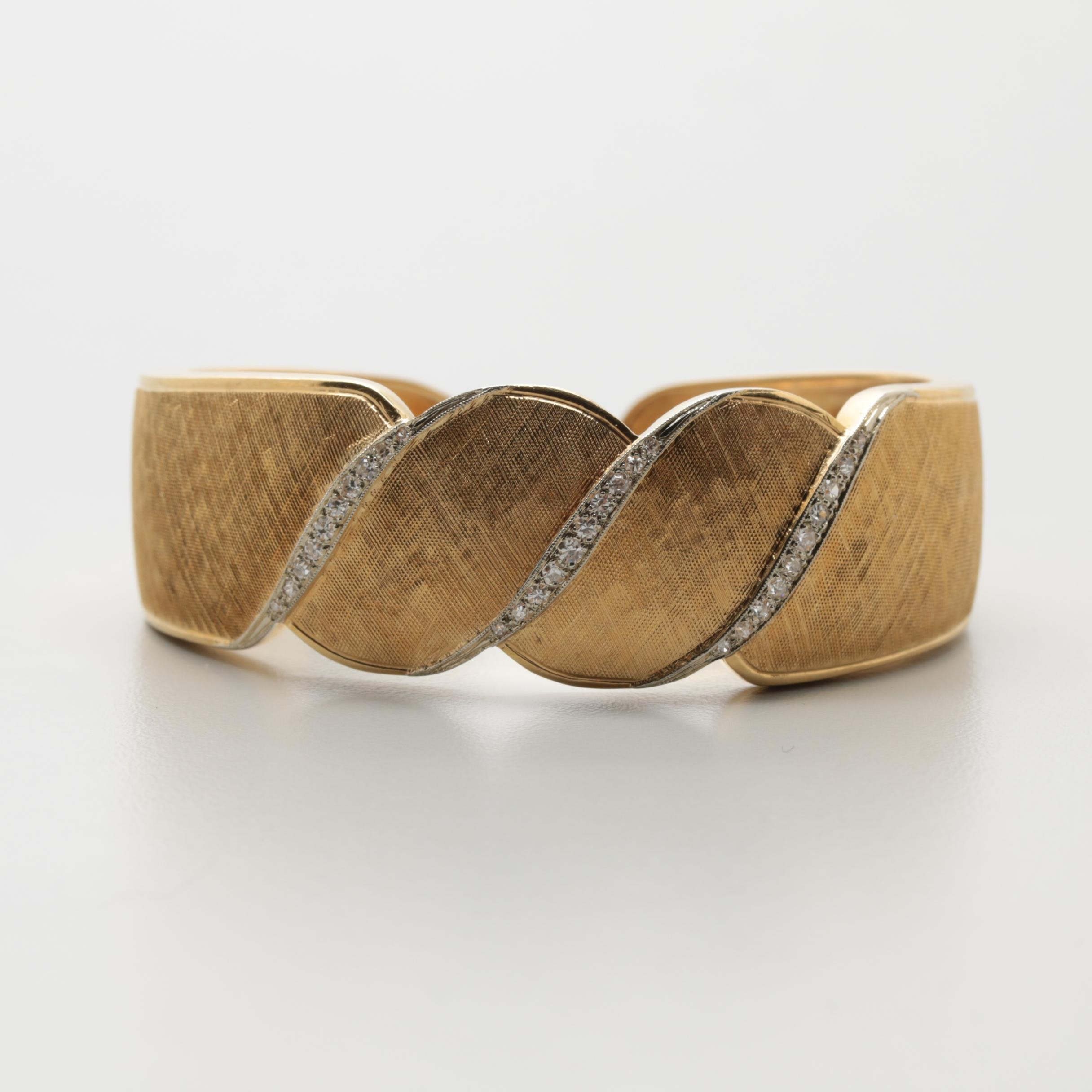 18K Yellow Gold Diamond Florentine Cuff Bracelet