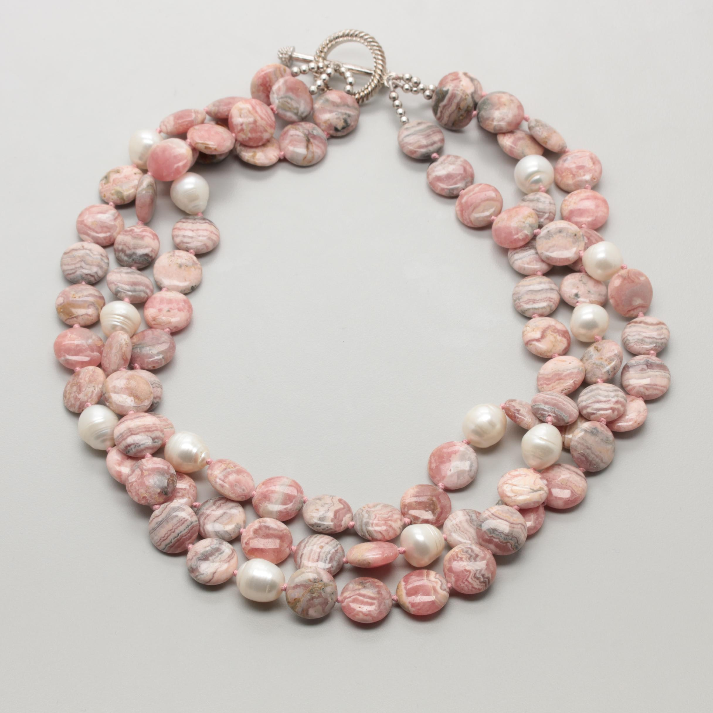 Silver Tone Three Strand Rhodochrosite and Cultured Pearl Necklace