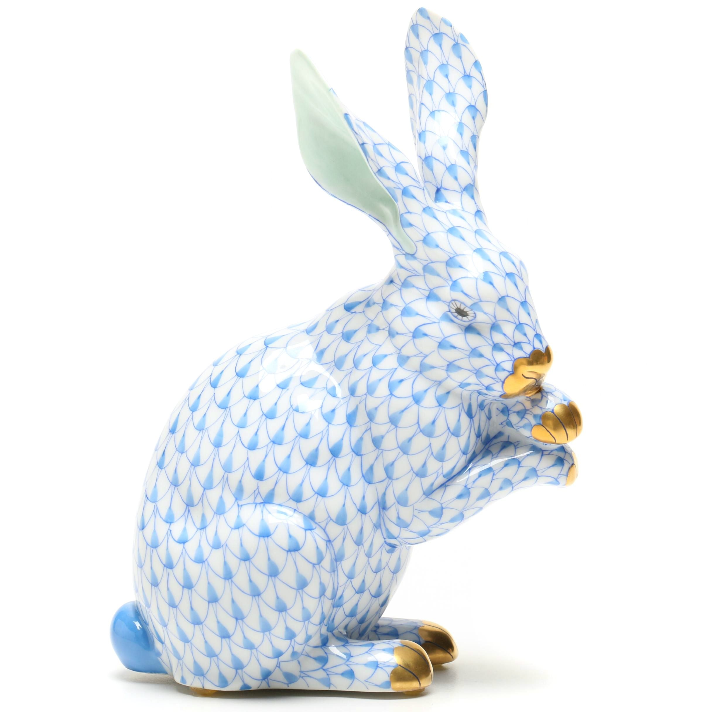 Herend Hungary Porcelain Rabbit Figurine
