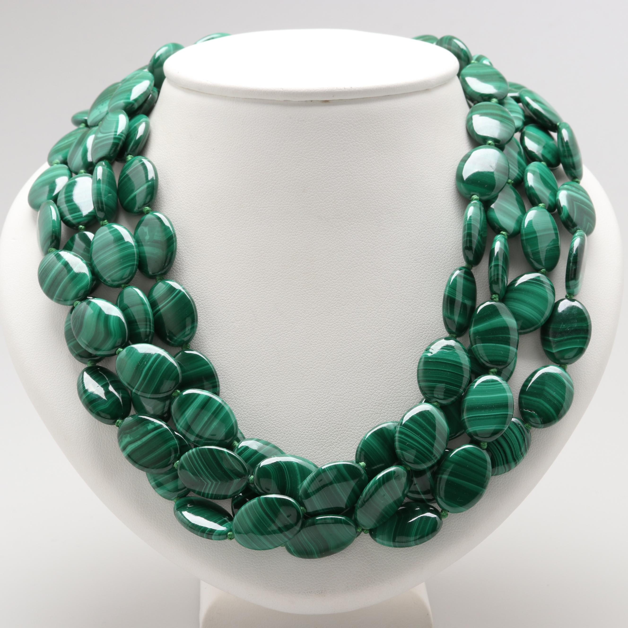 Gold Tone Four Strand Malachite Necklace