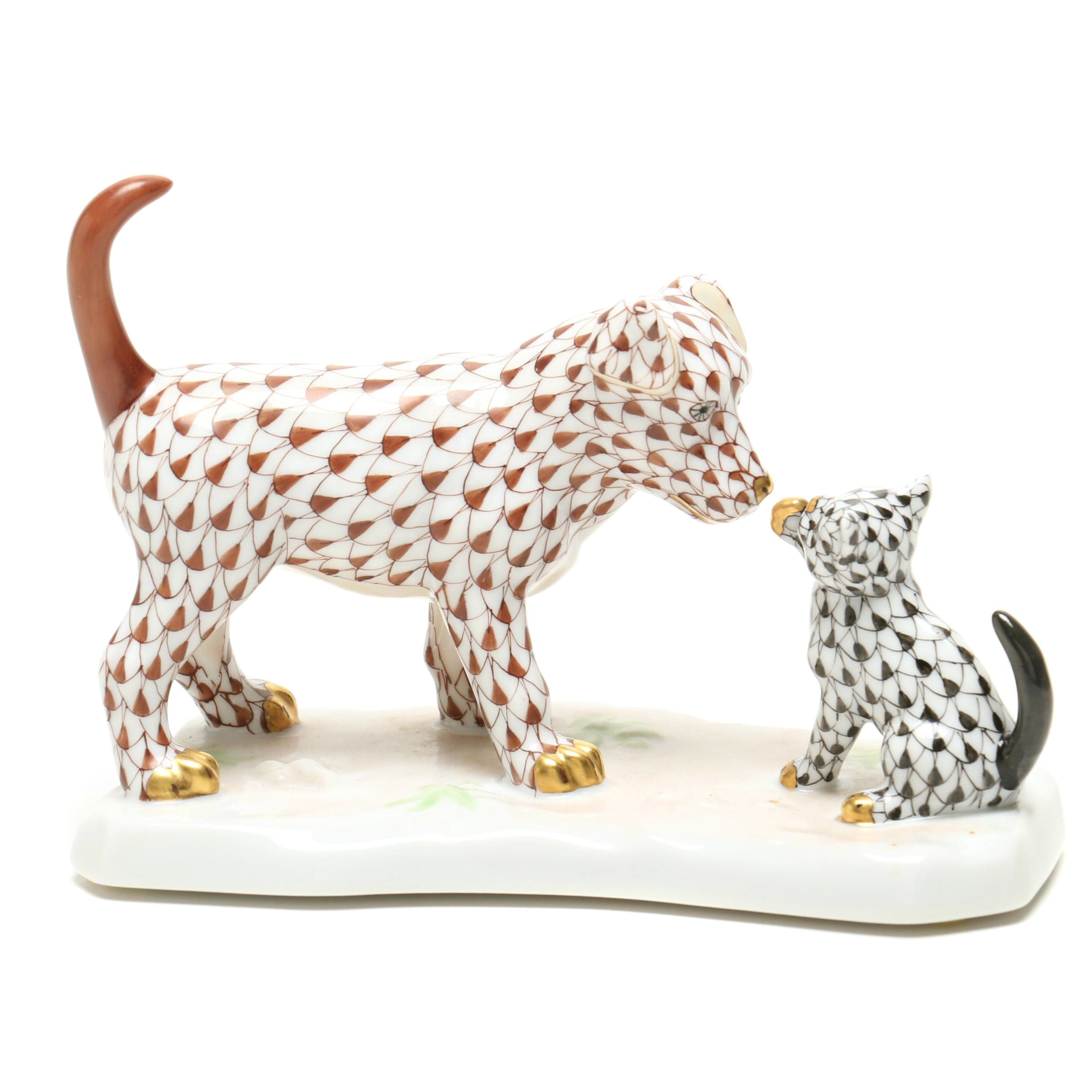Herend Anniversary Edition Dog and Cat Figurine