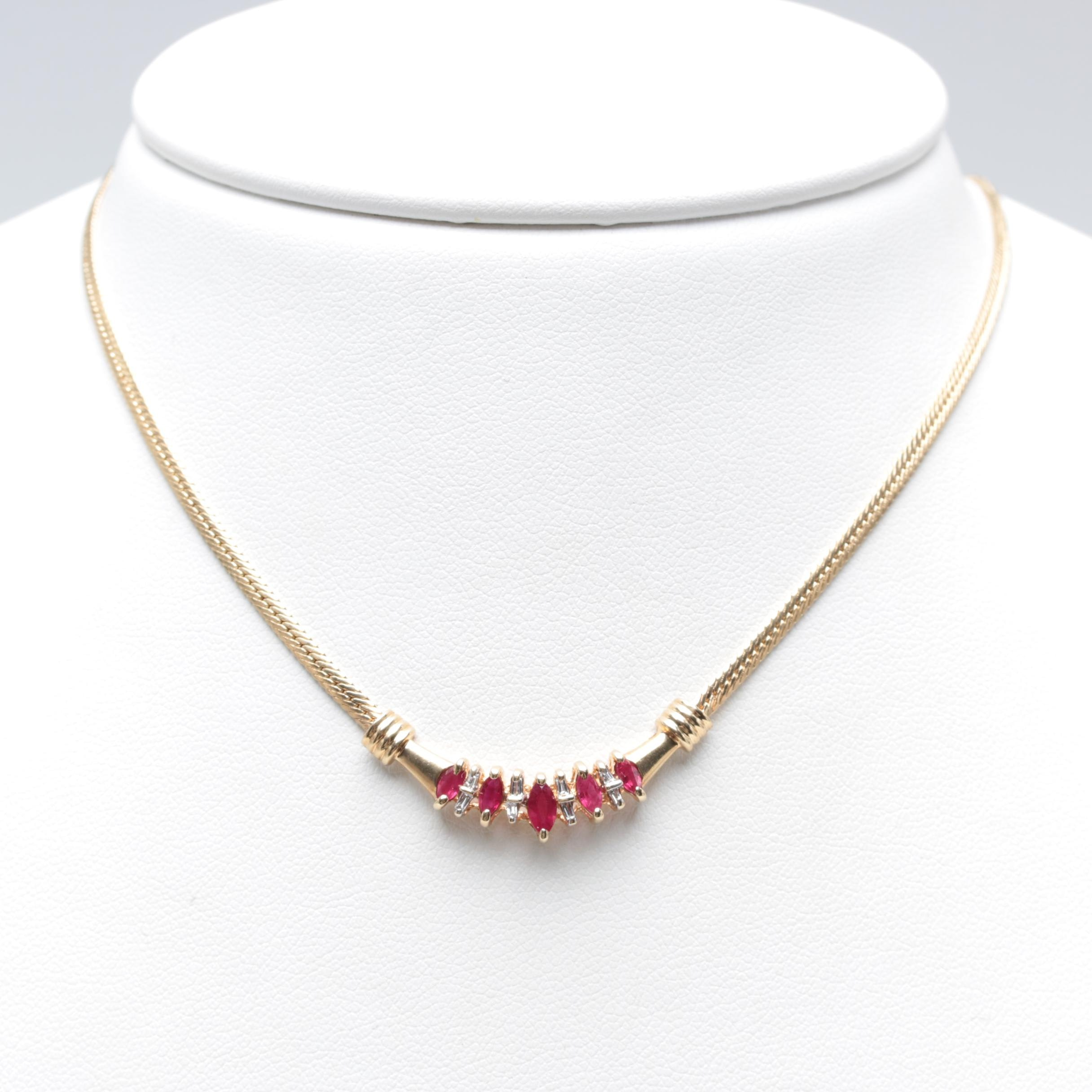 10K Yellow Gold Ruby and Diamond Necklace