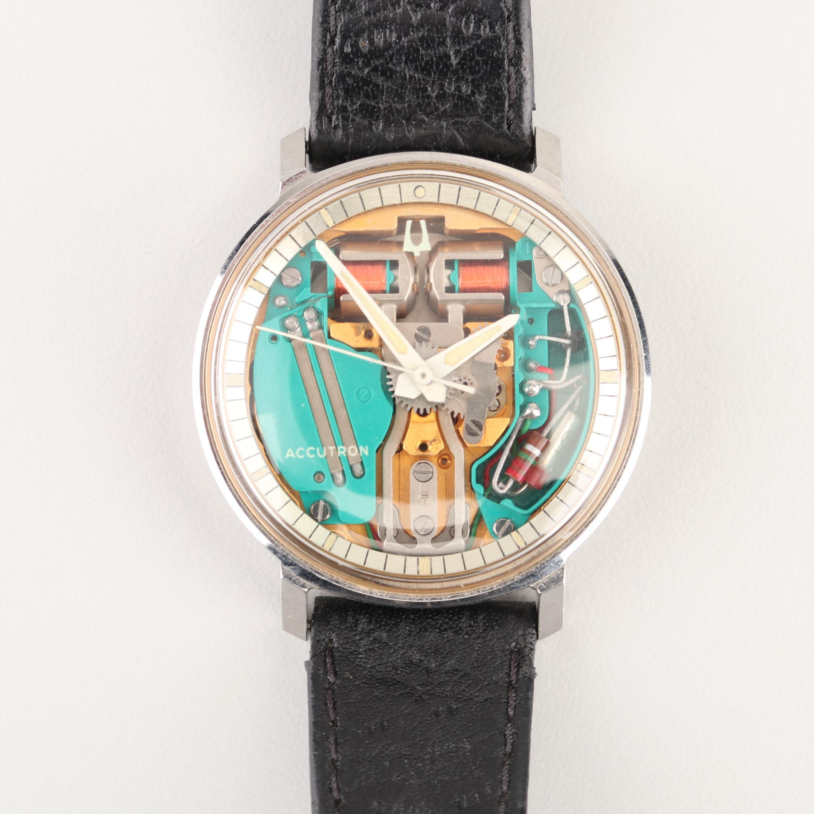 "Bulova Accutron ""Spaceview"" Stainless Steel Skeleton Case Wristwatch"