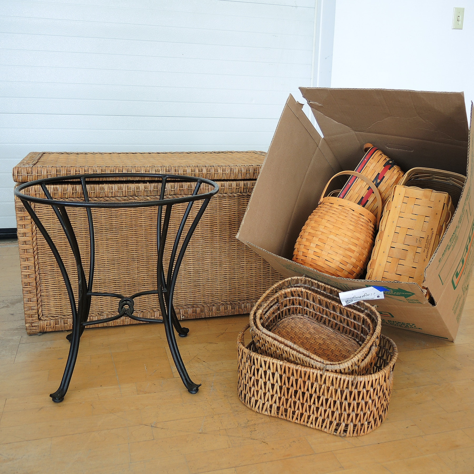 Longaberger Baskets and Wicker Trunk