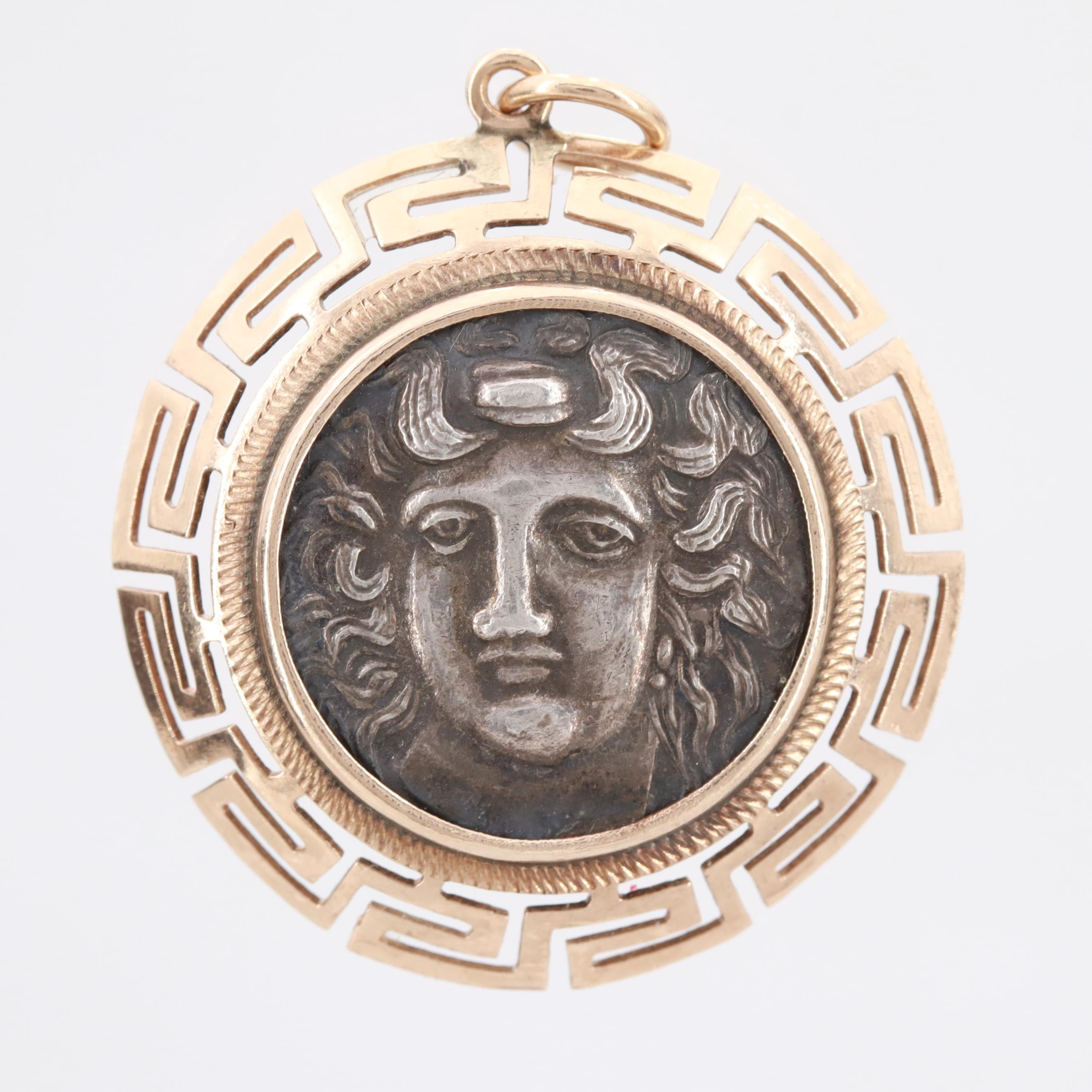 14K Yellow Gold Pendant with Sterling Reproduction Drachma Coin