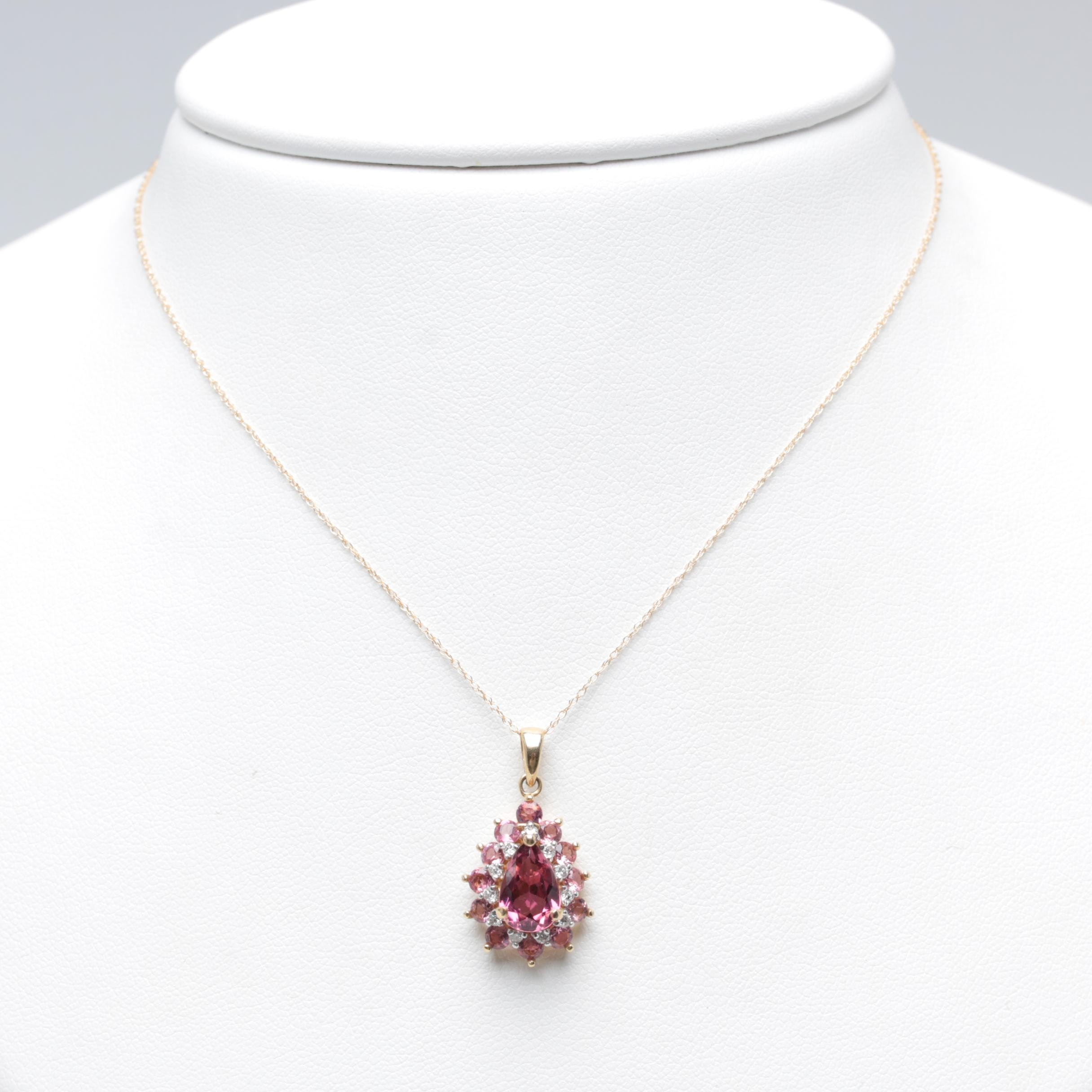 14K Yellow Gold Pink Tourmaline and Diamond Pendant Chain Necklace