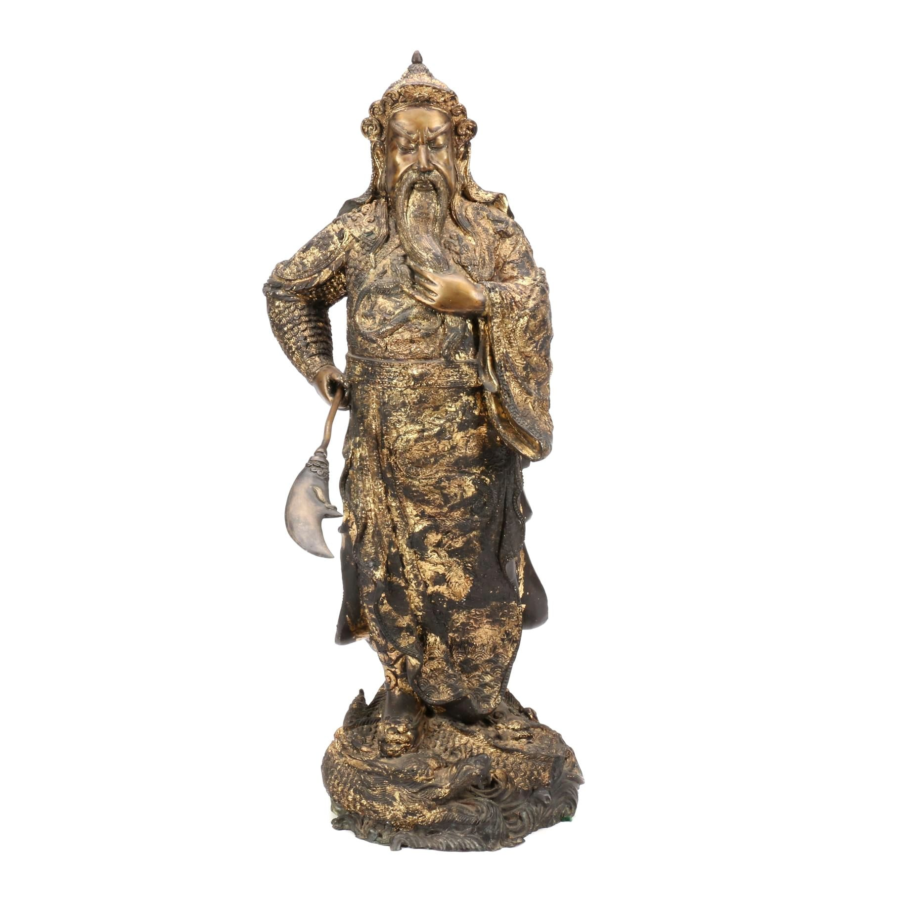 Qing Dynasty Chinese Gilt Bronze Sculpture of Guan Yu