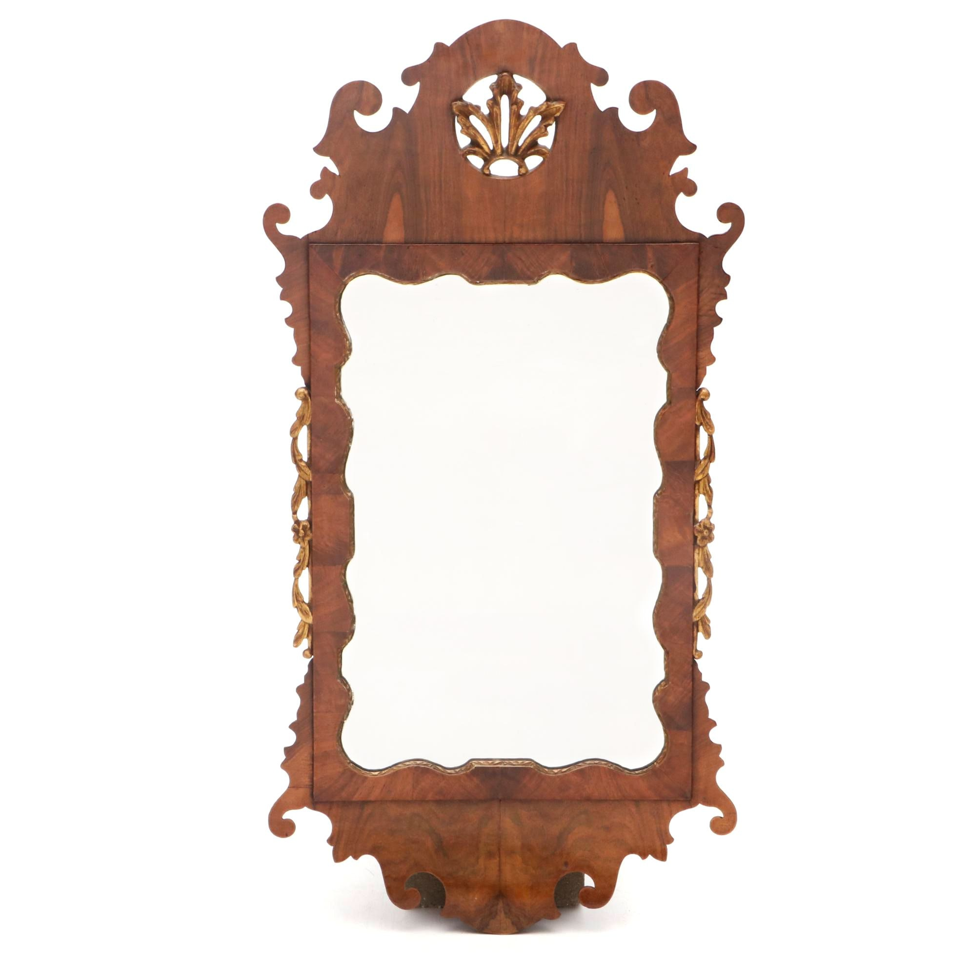 George III Era Walnut Parcel Gilt Mirror, 18th Century