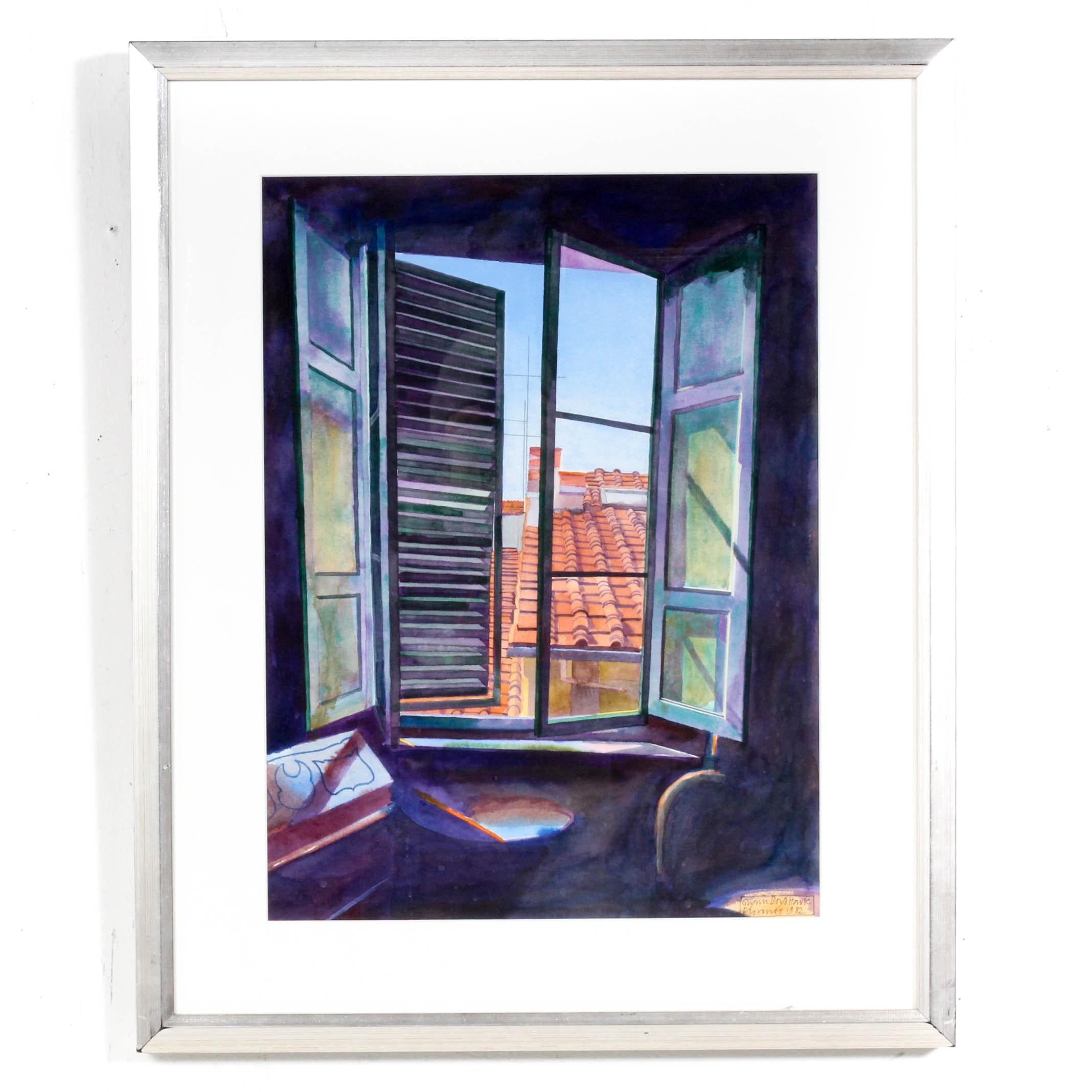 Vintage Watercolor Depicting Roof Scene From Open Window