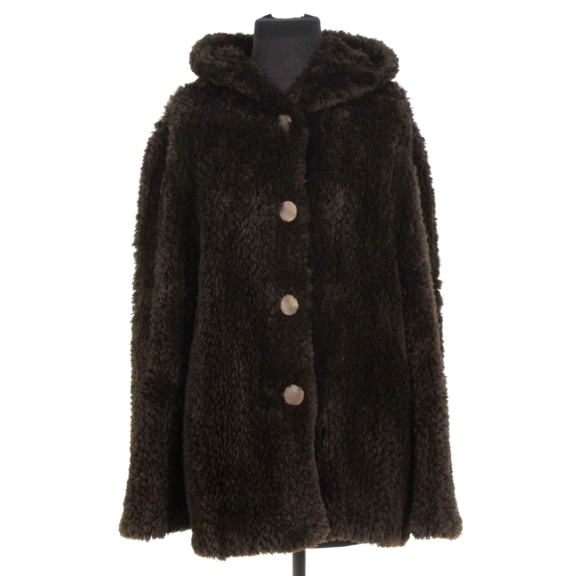 Knitted Brown Shearling Coat with Hood
