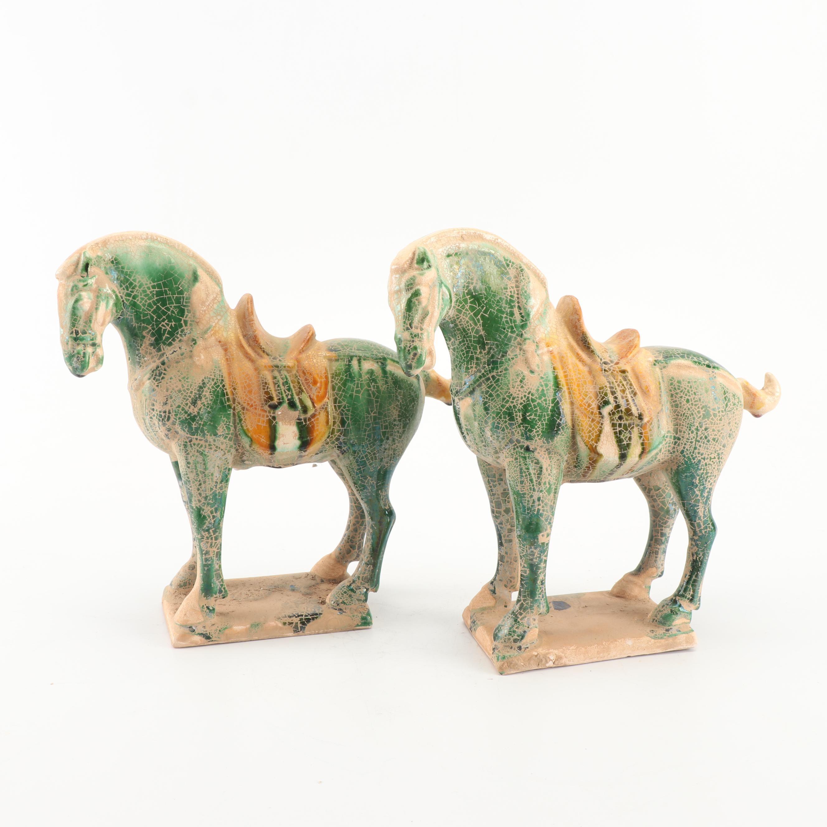 Chinese Ceramic Tang Horse Statuette Pair