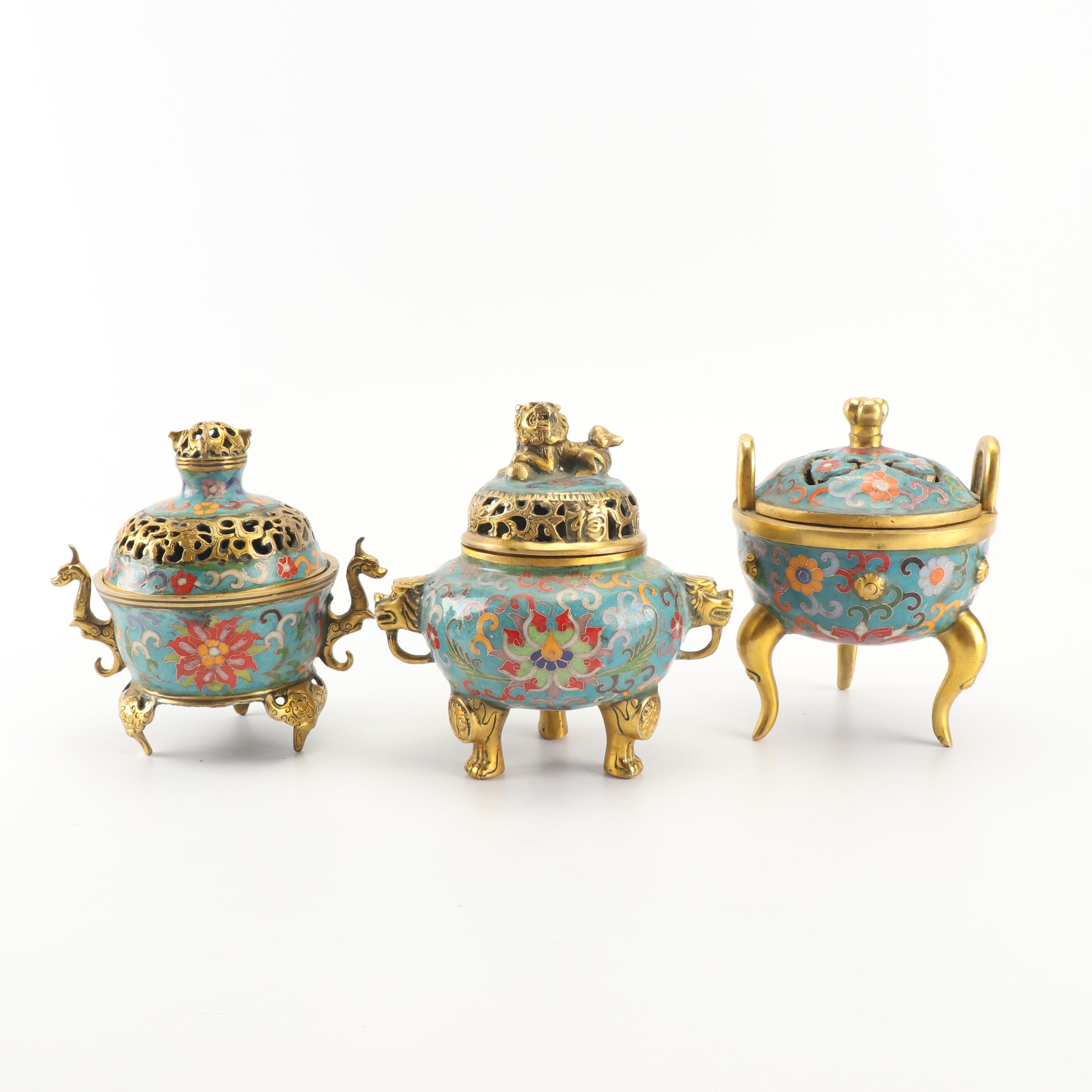 Chinese Cloisonné Incense Burners