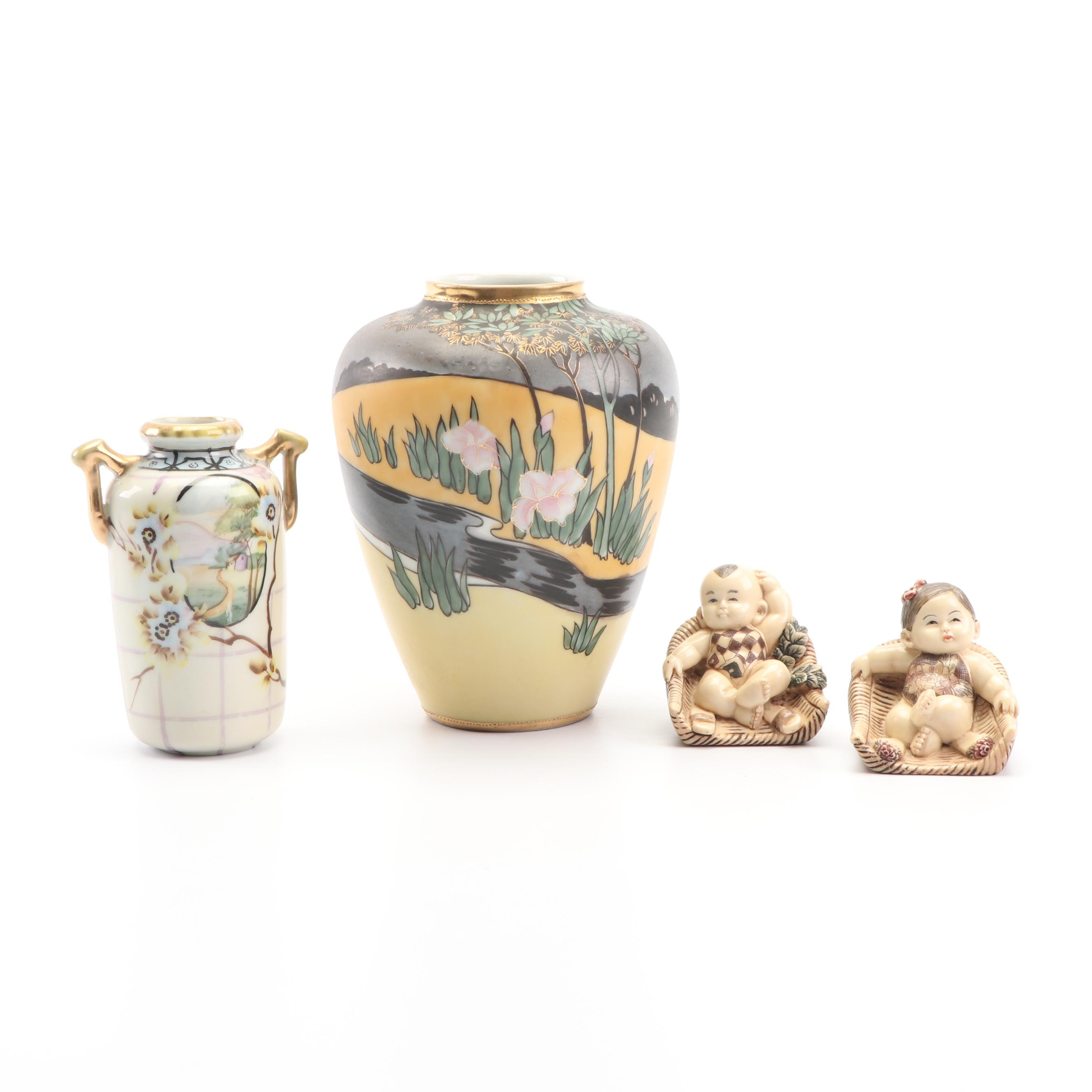 Hand-Painted Nippon Vases with Child Figurines