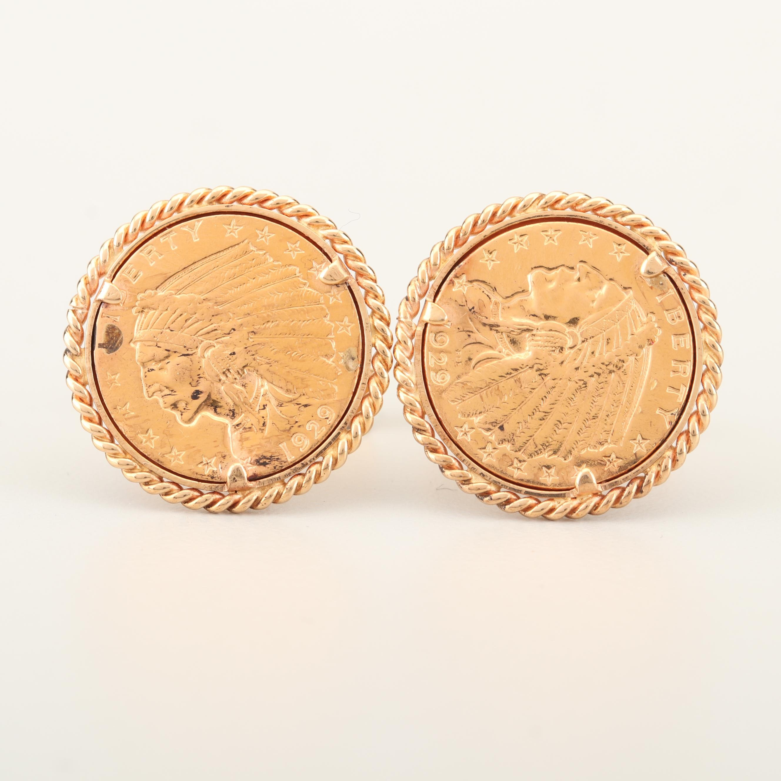 14K Yellow Gold Cufflinks with 1929 Indian Head $2.5 Gold Coins
