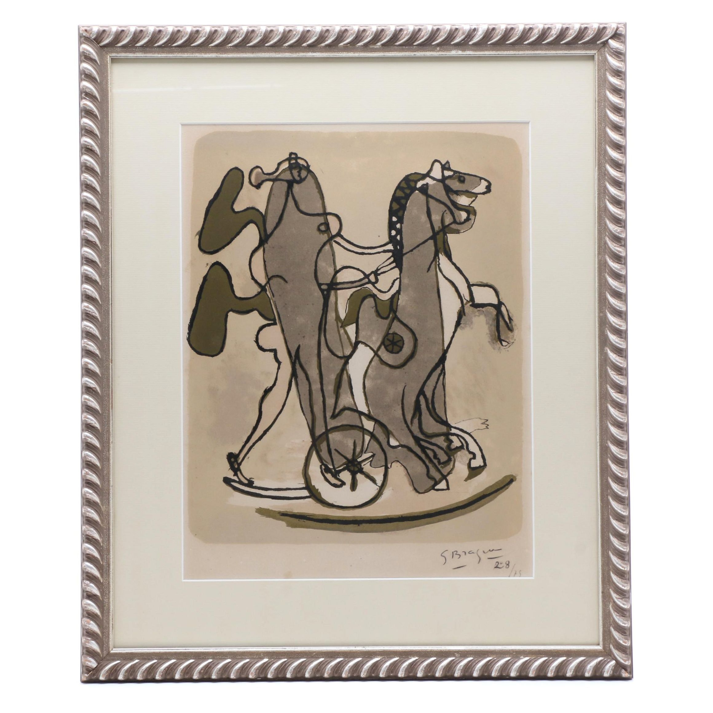 """Georges Braque 1932 Color Lithograph """"Athene (Athena)"""""""