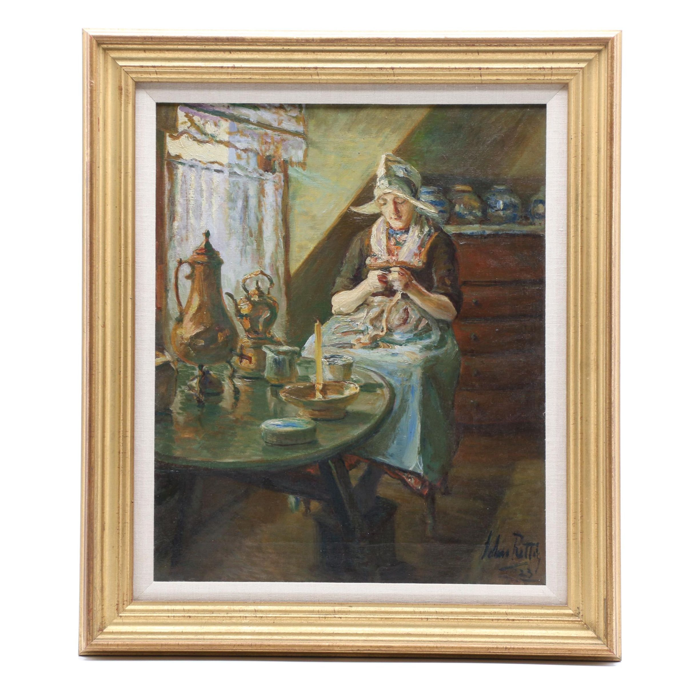John Rettig 1923 Oil Painting of Dutch Genre Scene