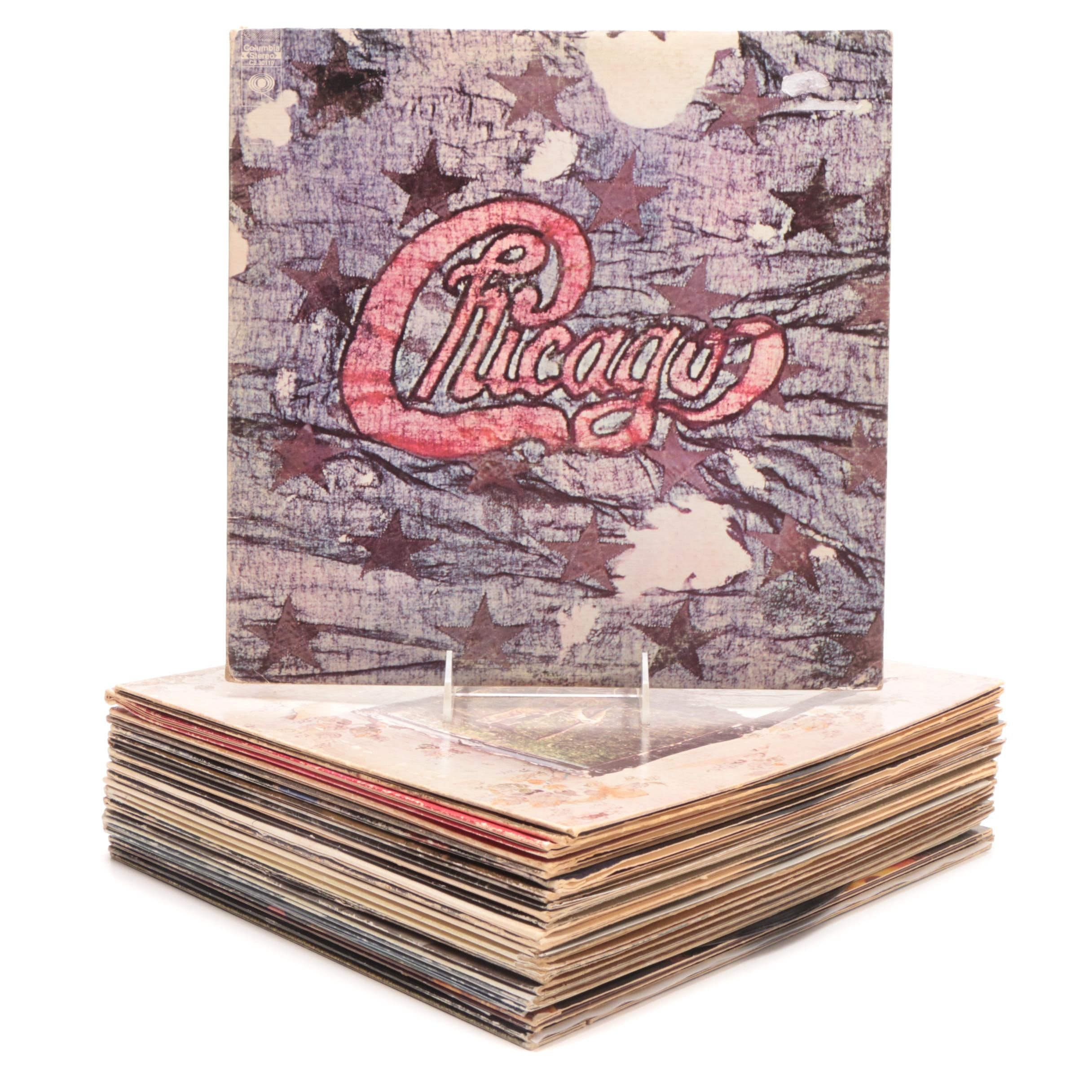 Classic Rock LP Records including Chicago, Led Zeppelin and Commodores