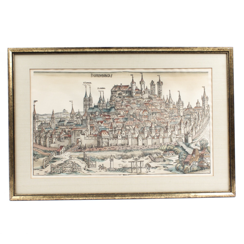 Antique Hand-Colored Lithograph After 15th Century Woodblock Print of Nuremberg