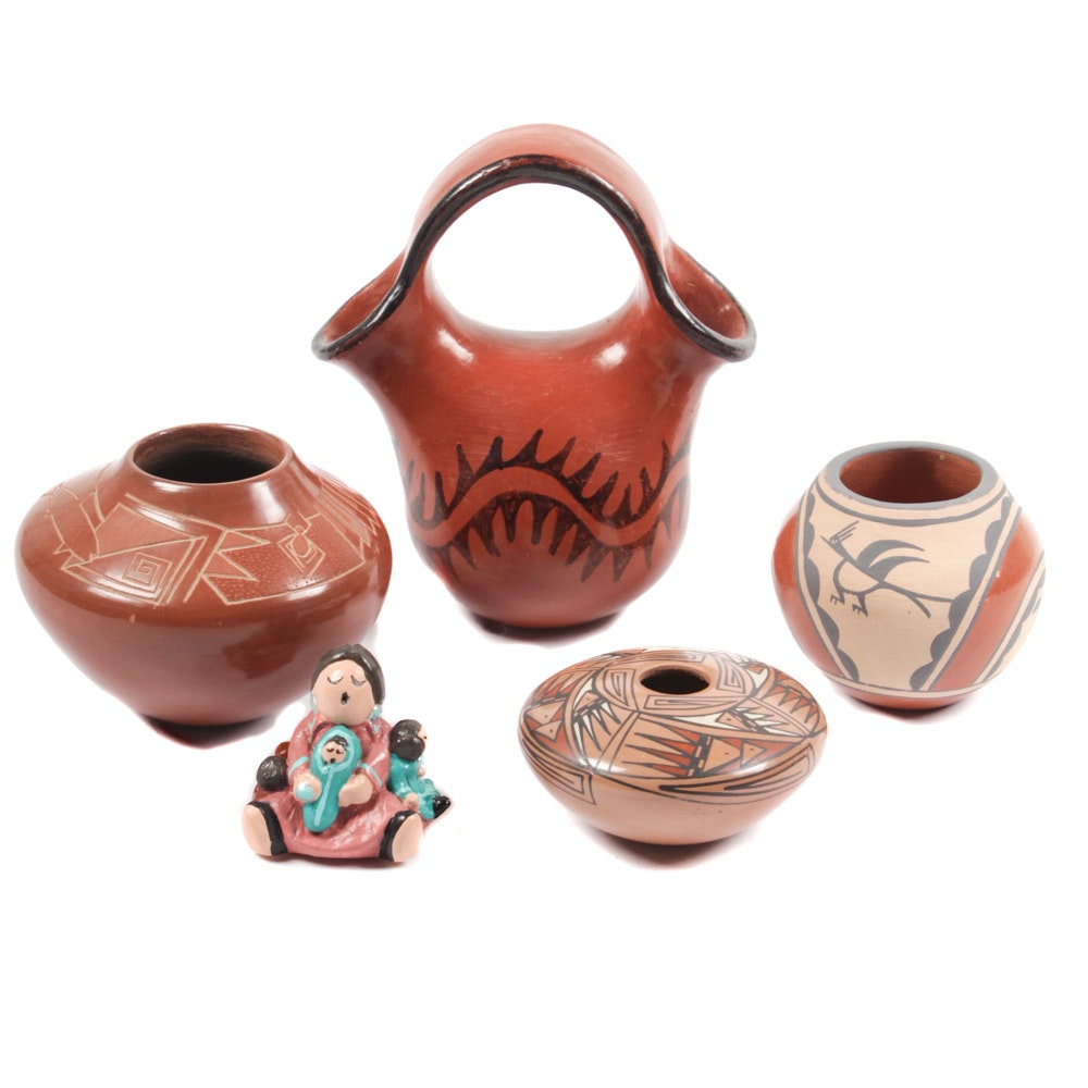 Signed Navajo Pottery Including Sandy Whitefeather and Rosy Mora