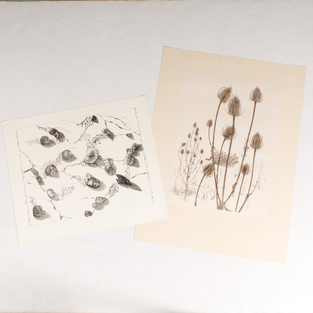 June Carver Roberts Nature Themed Lithographs