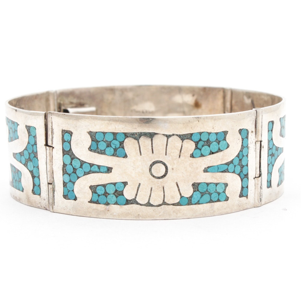 Taxco Mexico Sterling Silver Turquoise Bracelet